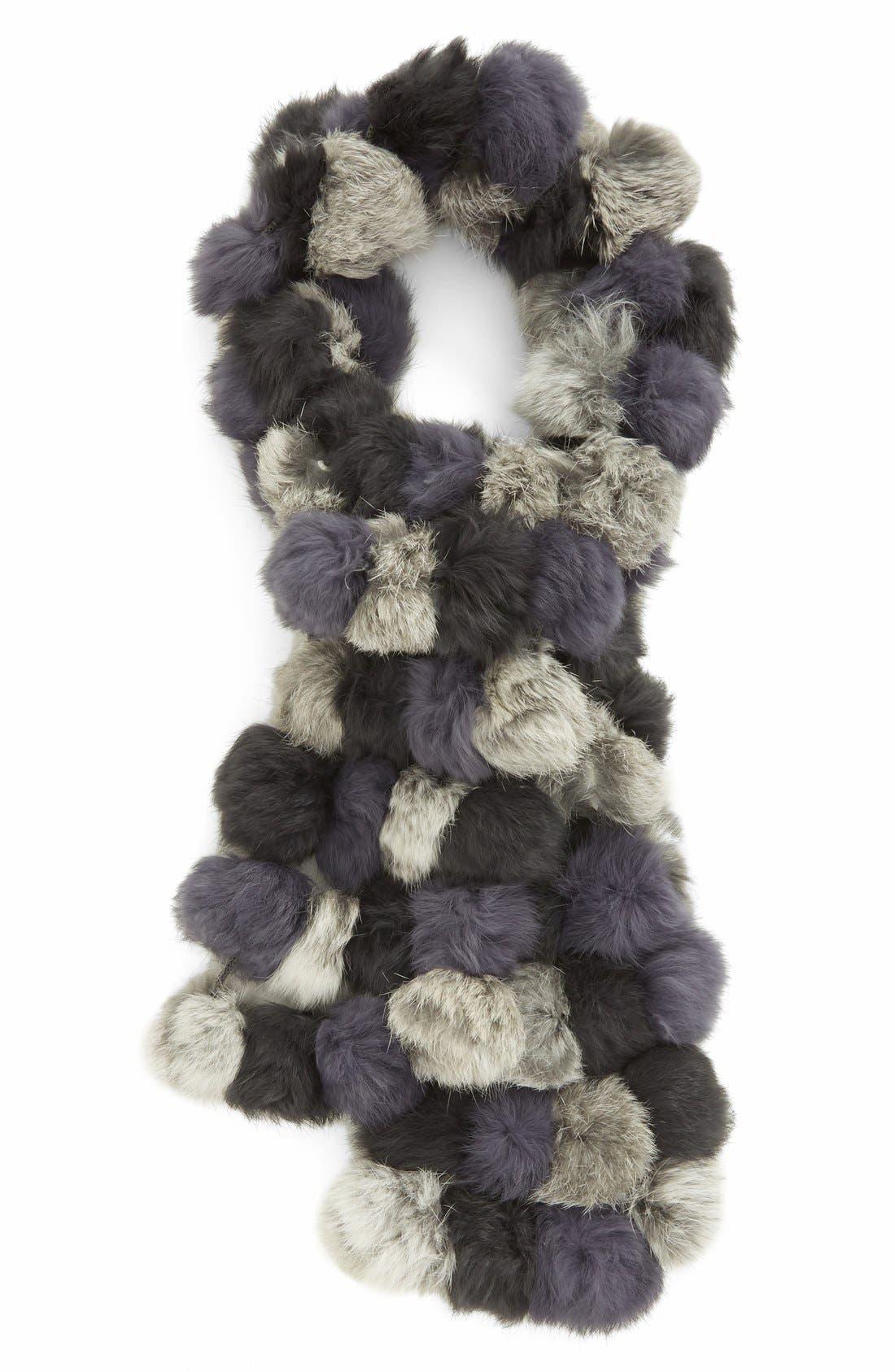 LA FIORENTINA Genuine Rabbit Fur Scarf, Main, color, BLACK/GREY