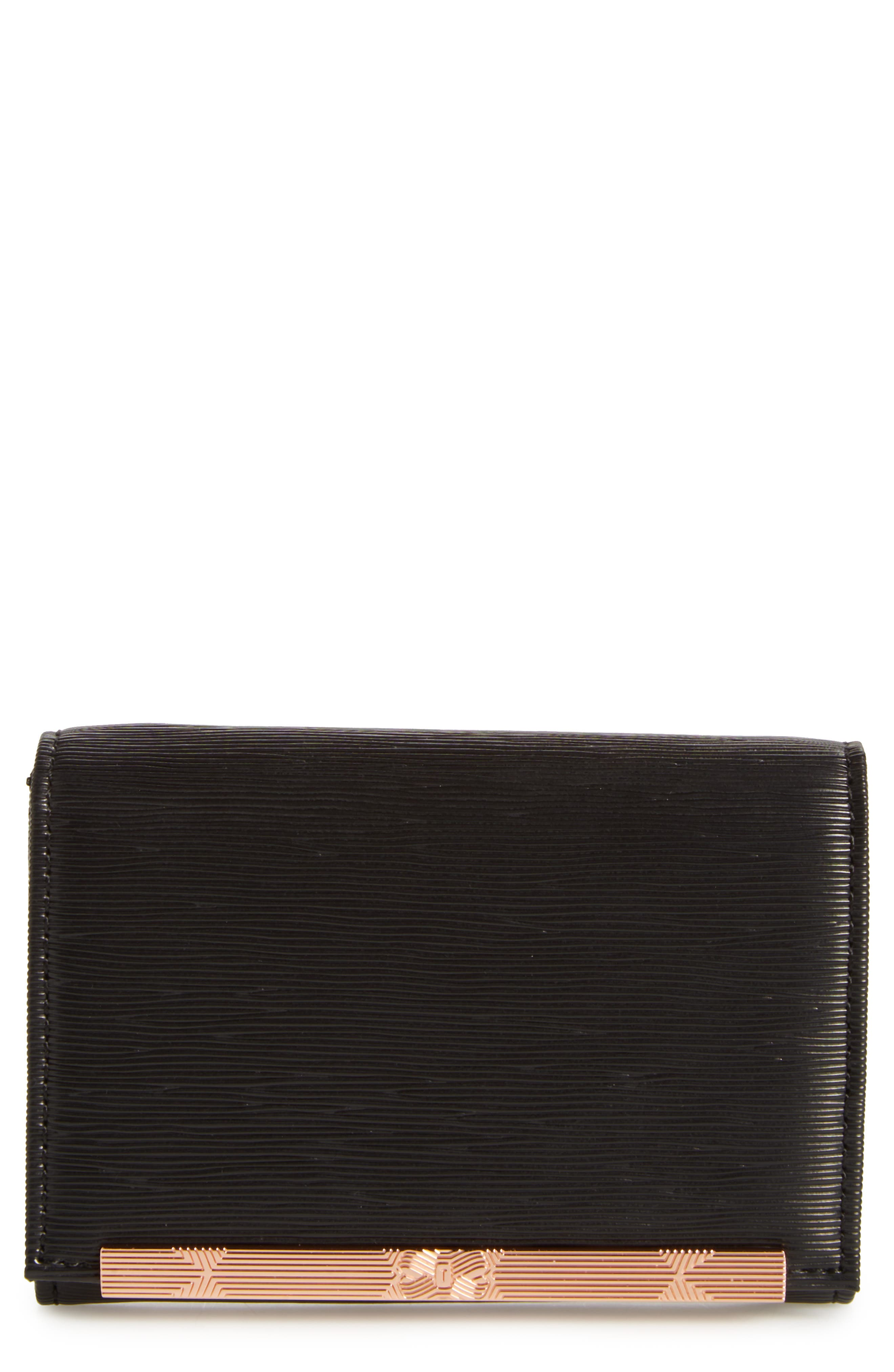 Valenta Plissé Leather Mini Wallet,                         Main,                         color,