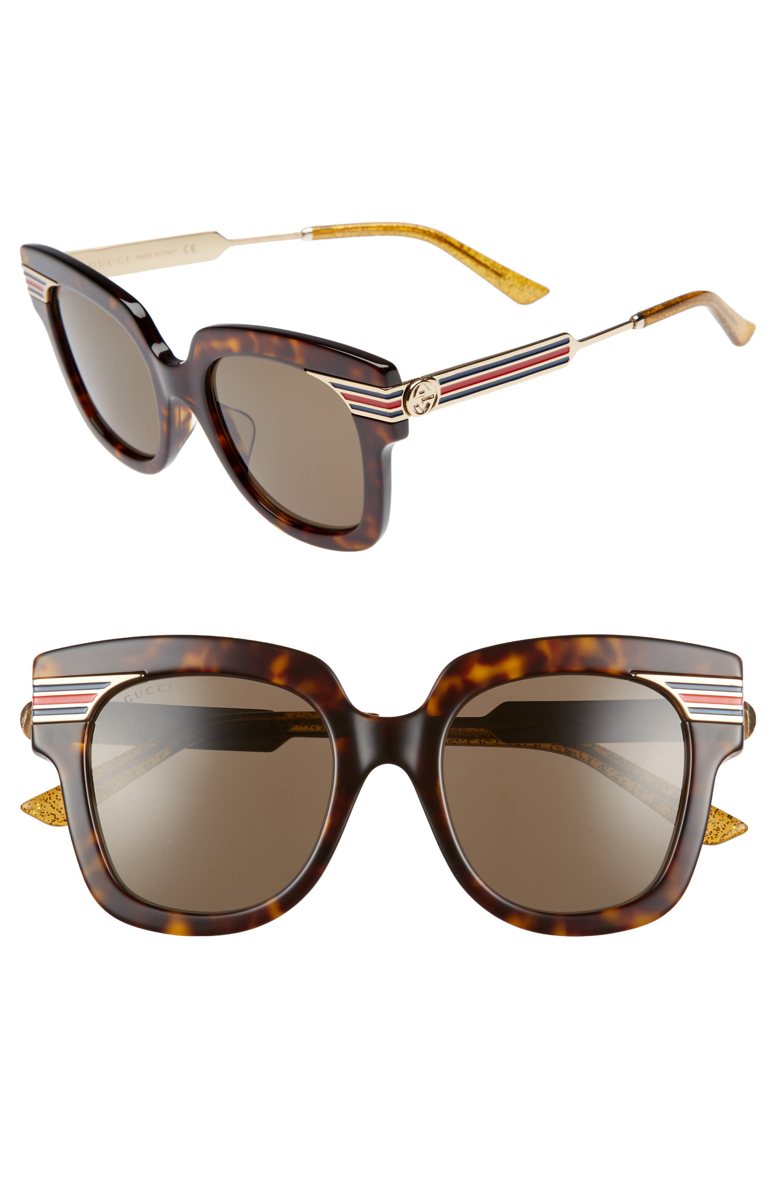 51mm Cat Eye Sunglasses,                             Main thumbnail 1, color,                             DARK HAVANA/ GOLD