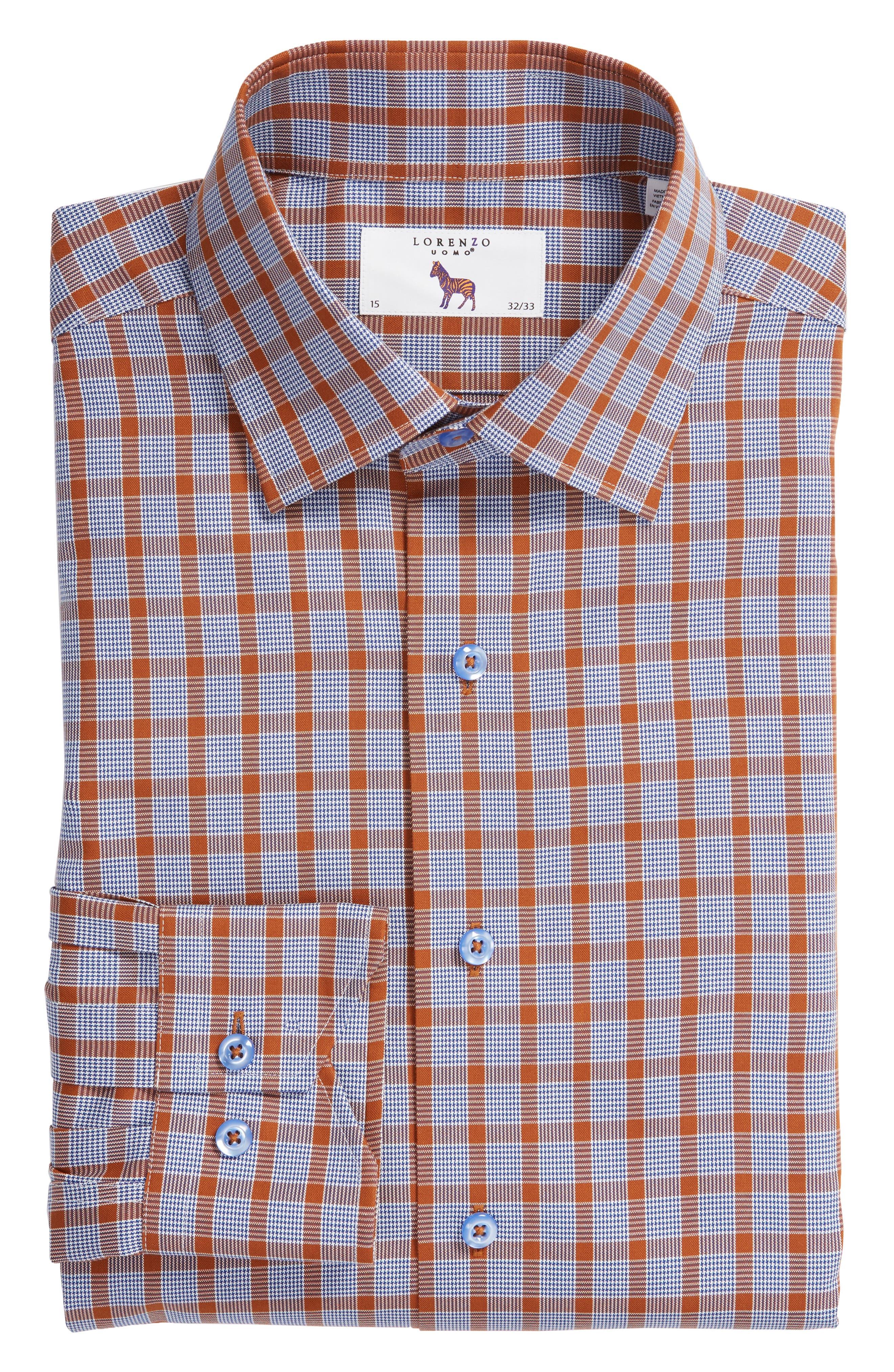 Trim Fit Plaid Dress Shirt,                             Alternate thumbnail 5, color,                             430