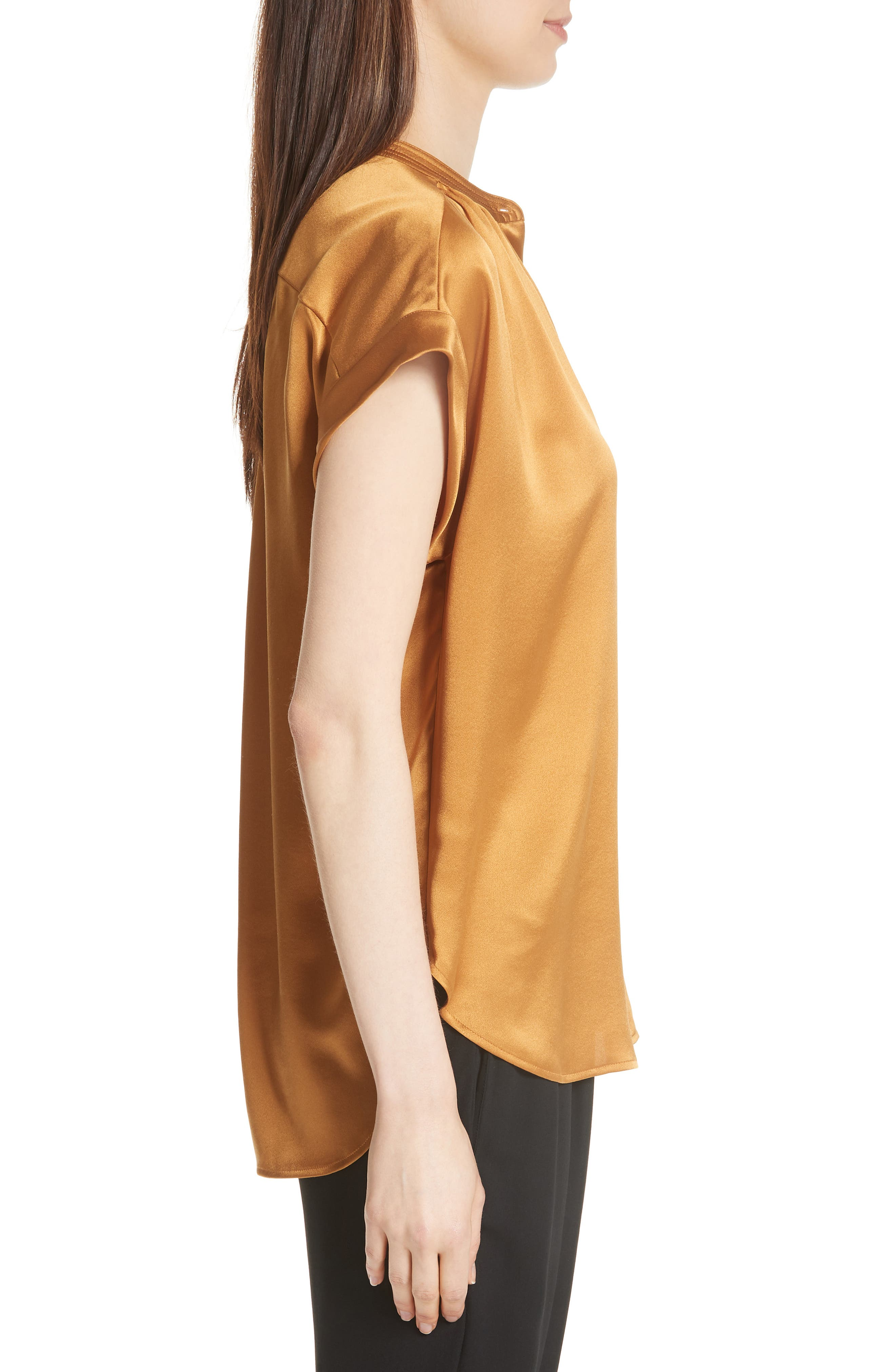 Shirred Neck Silk Top,                             Alternate thumbnail 11, color,