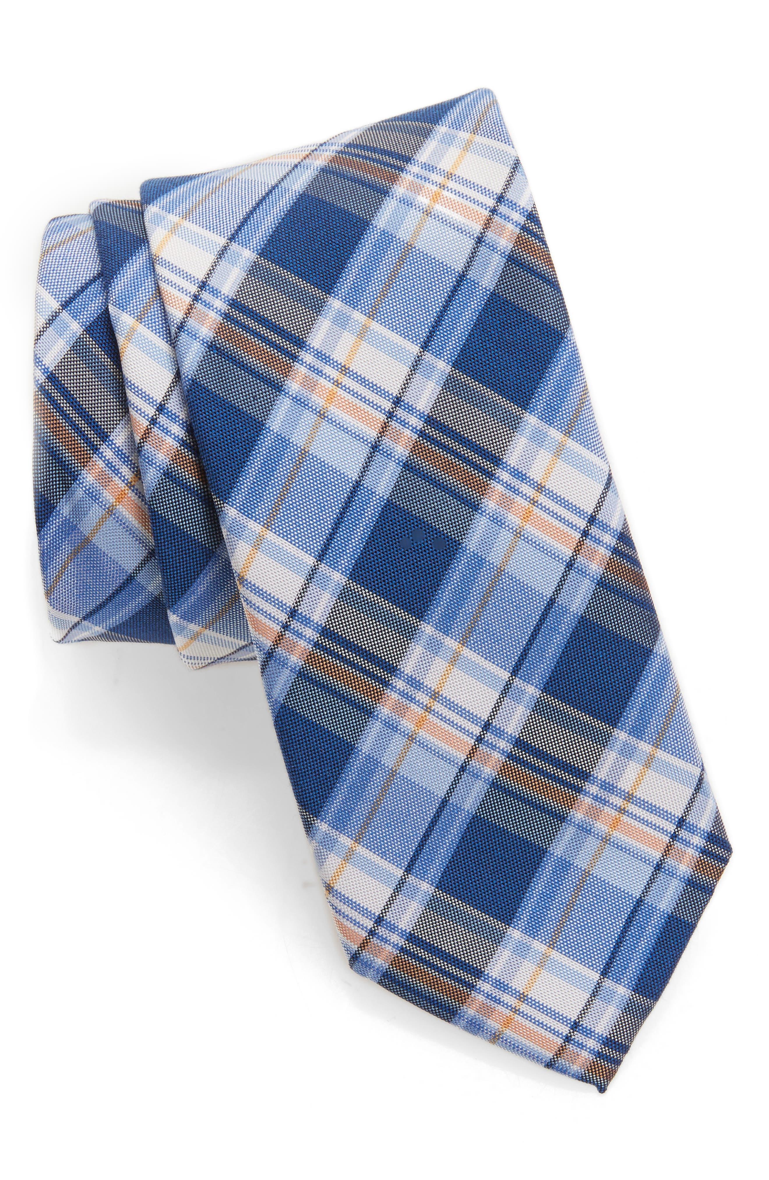 Plaid Silk & Cotton Tie,                             Main thumbnail 1, color,                             400