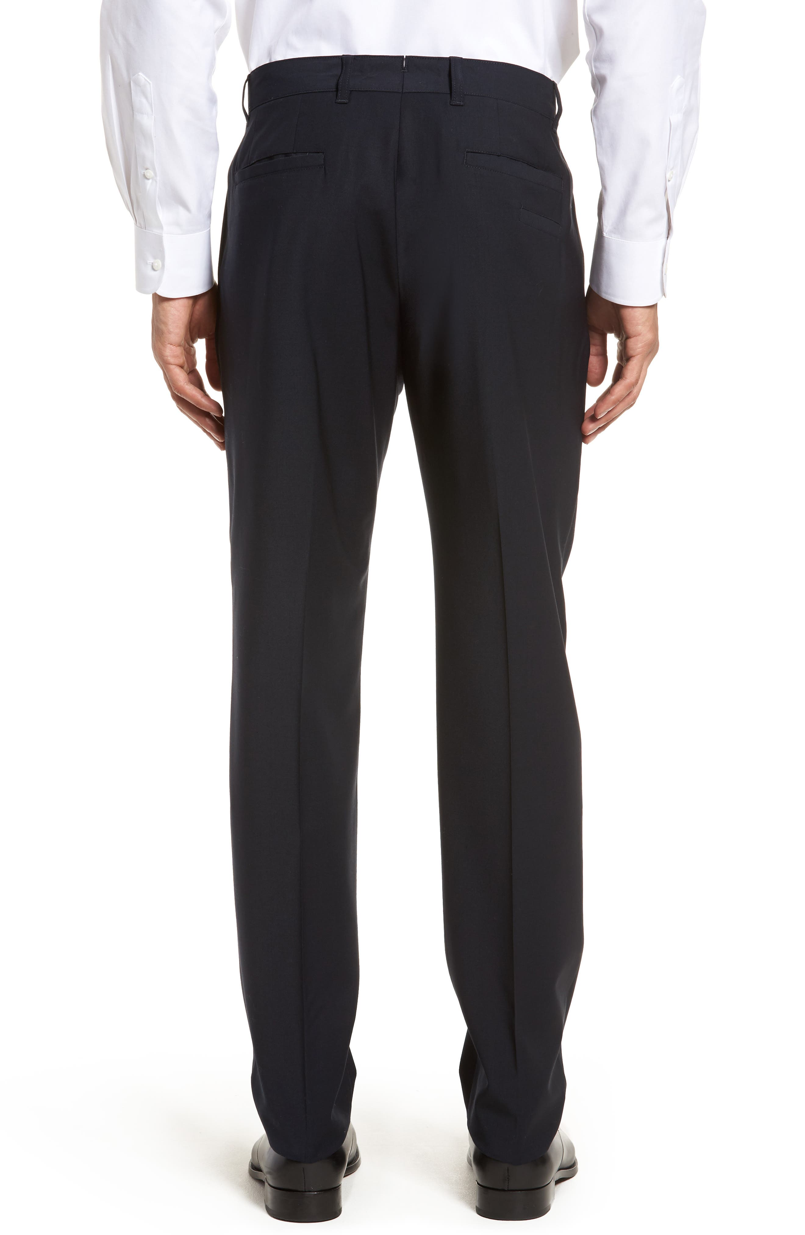 Flat Front Stretch Solid Wool Trousers,                             Alternate thumbnail 4, color,