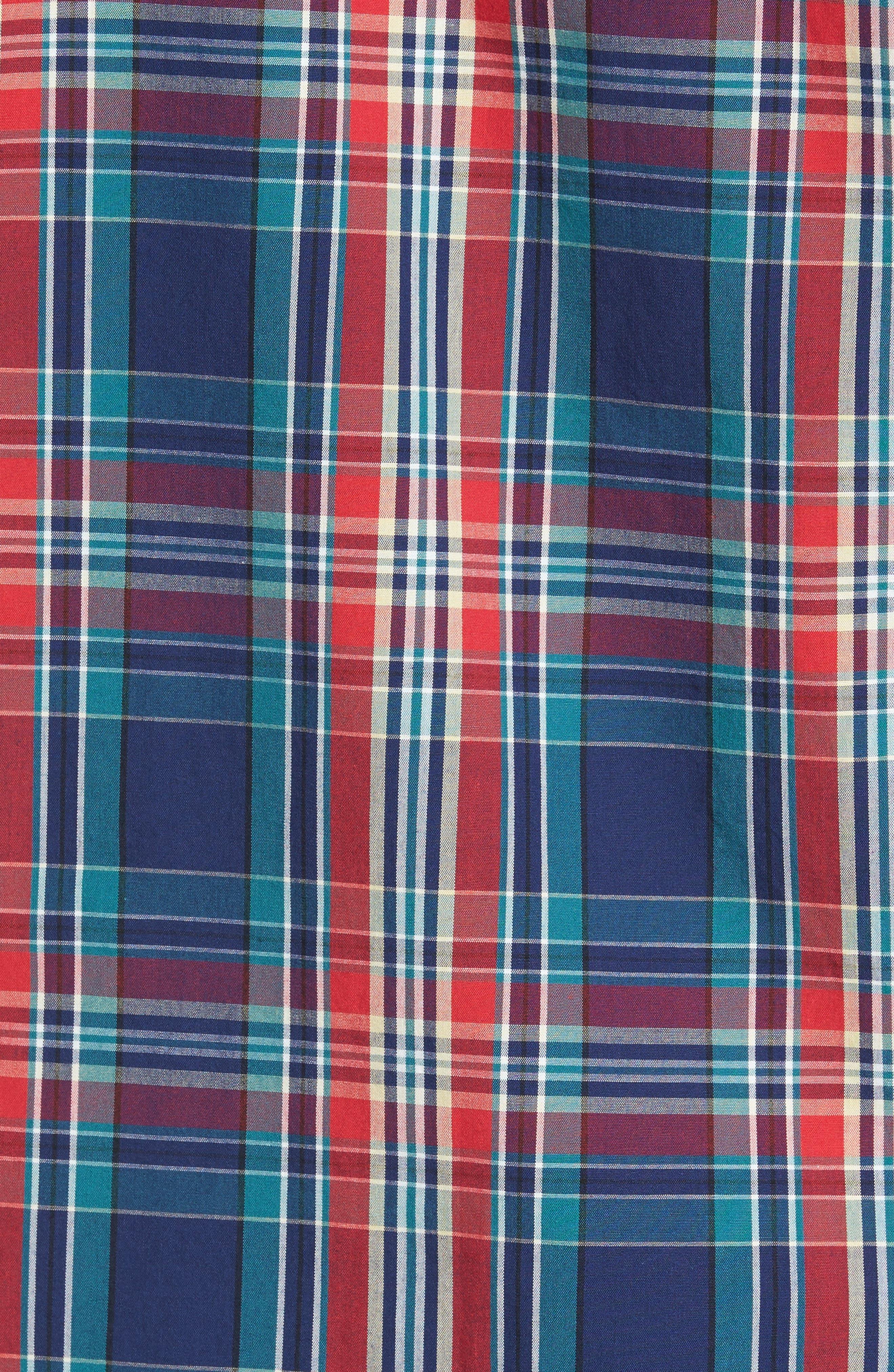 Ivy Trim Fit Plaid Sport Shirt,                             Alternate thumbnail 5, color,                             610