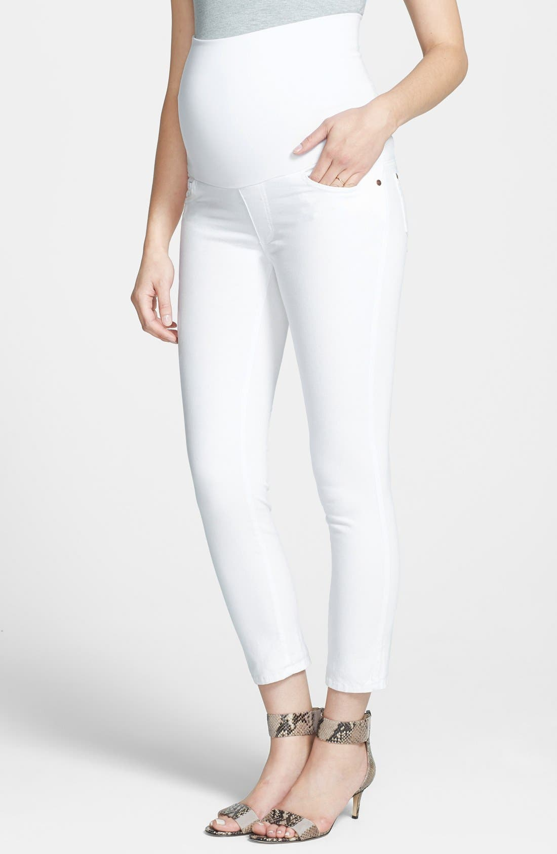 Maternity Skinny Ankle Jeans,                         Main,                         color, 100