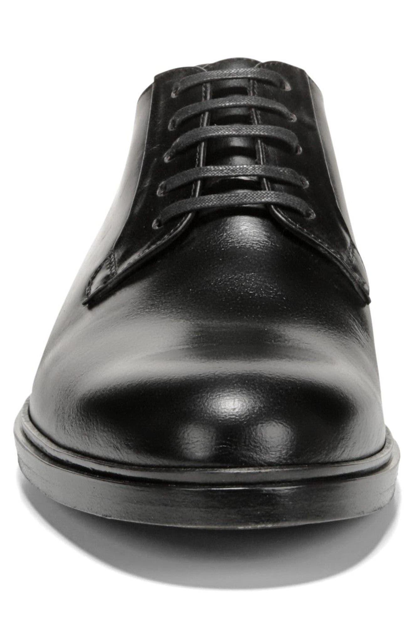 Boreum Plain Toe Derby,                             Alternate thumbnail 4, color,                             BLACK