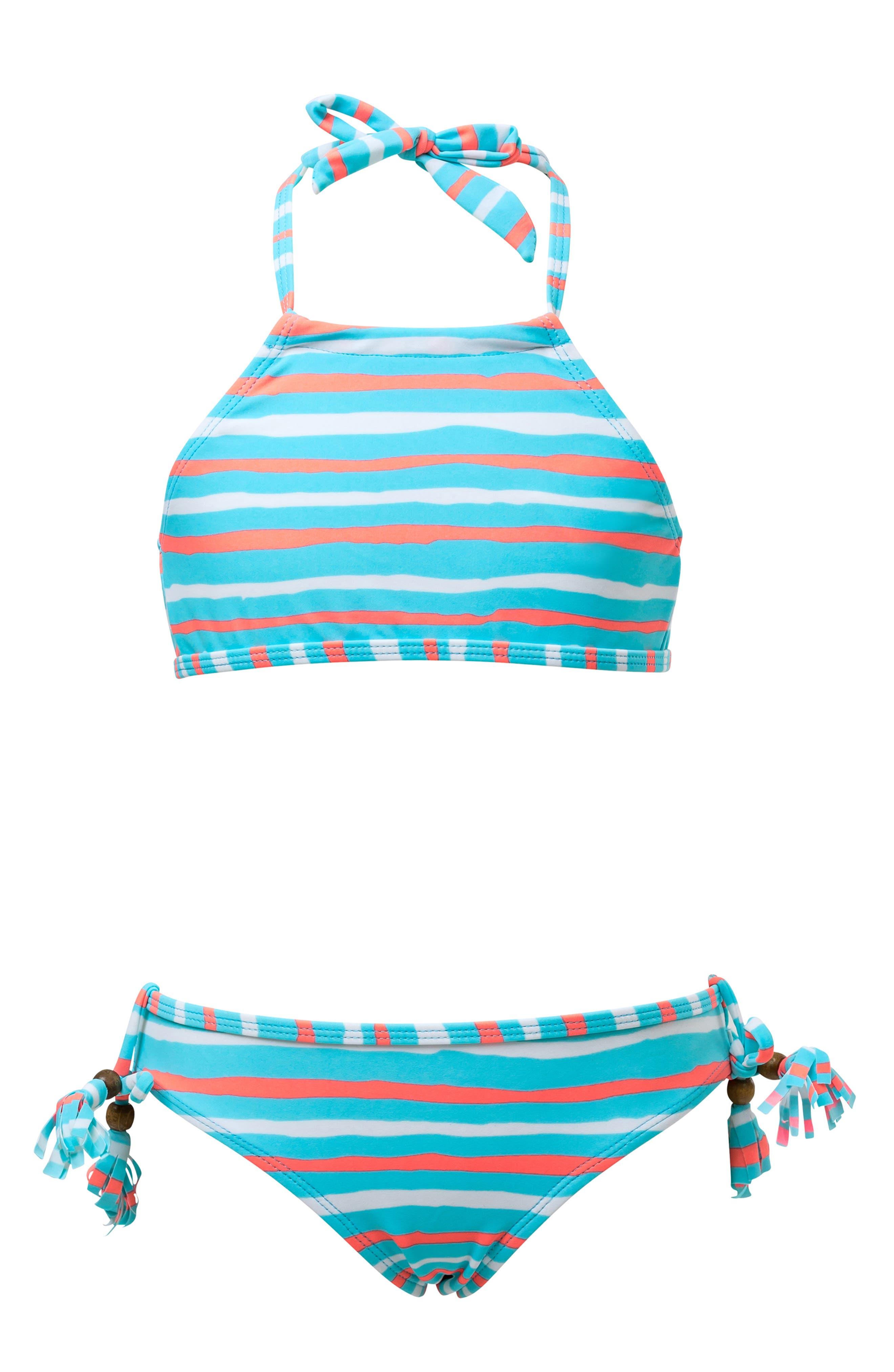 SNAPPER ROCK,                             Stripe Two-Piece Halter Swimsuit,                             Main thumbnail 1, color,                             NEON LIGHT BLUE