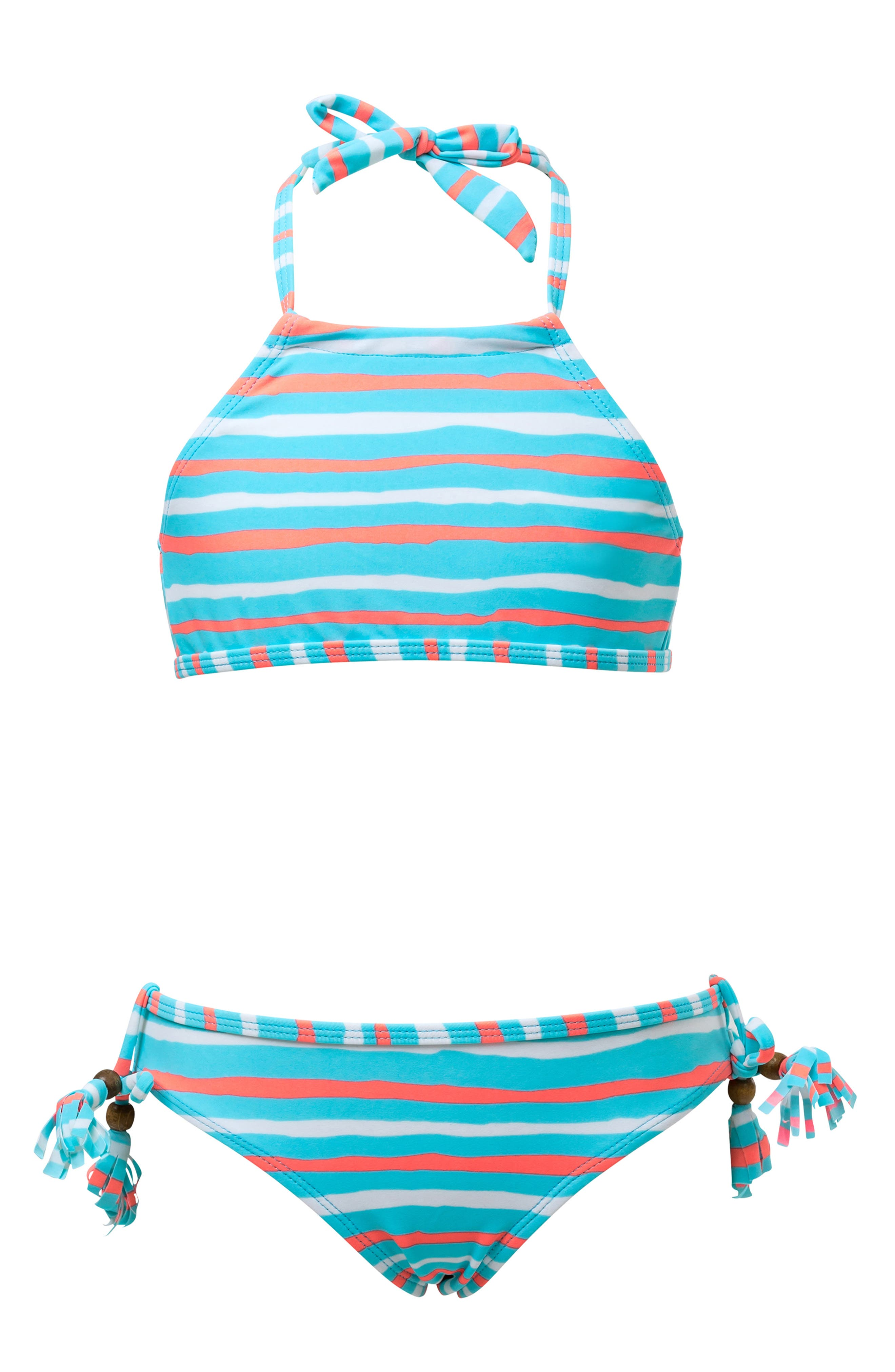 SNAPPER ROCK Stripe Two-Piece Halter Swimsuit, Main, color, NEON LIGHT BLUE