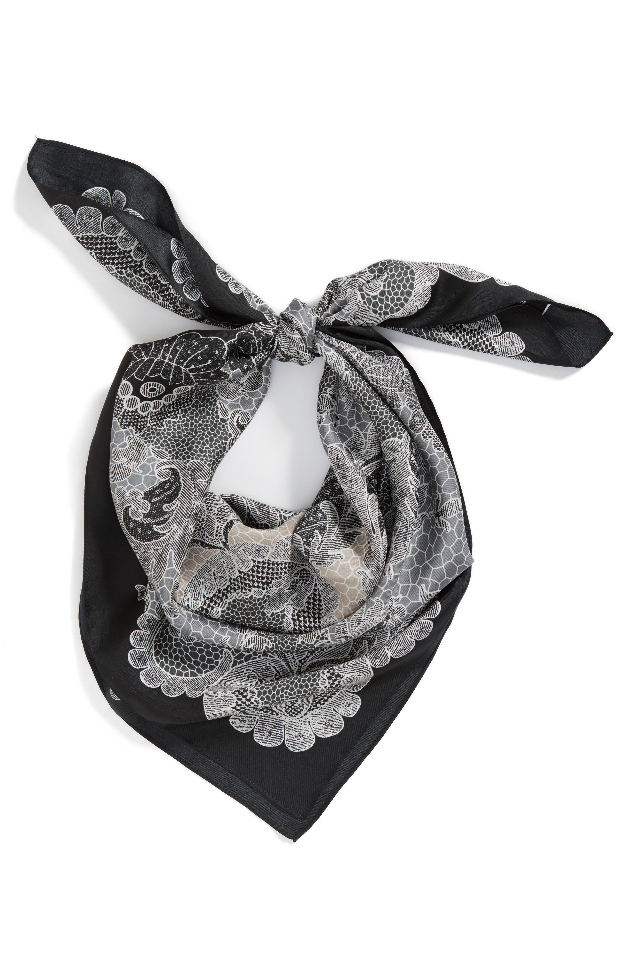 Camden Lace Square Silk Scarf,                             Alternate thumbnail 2, color,                             001