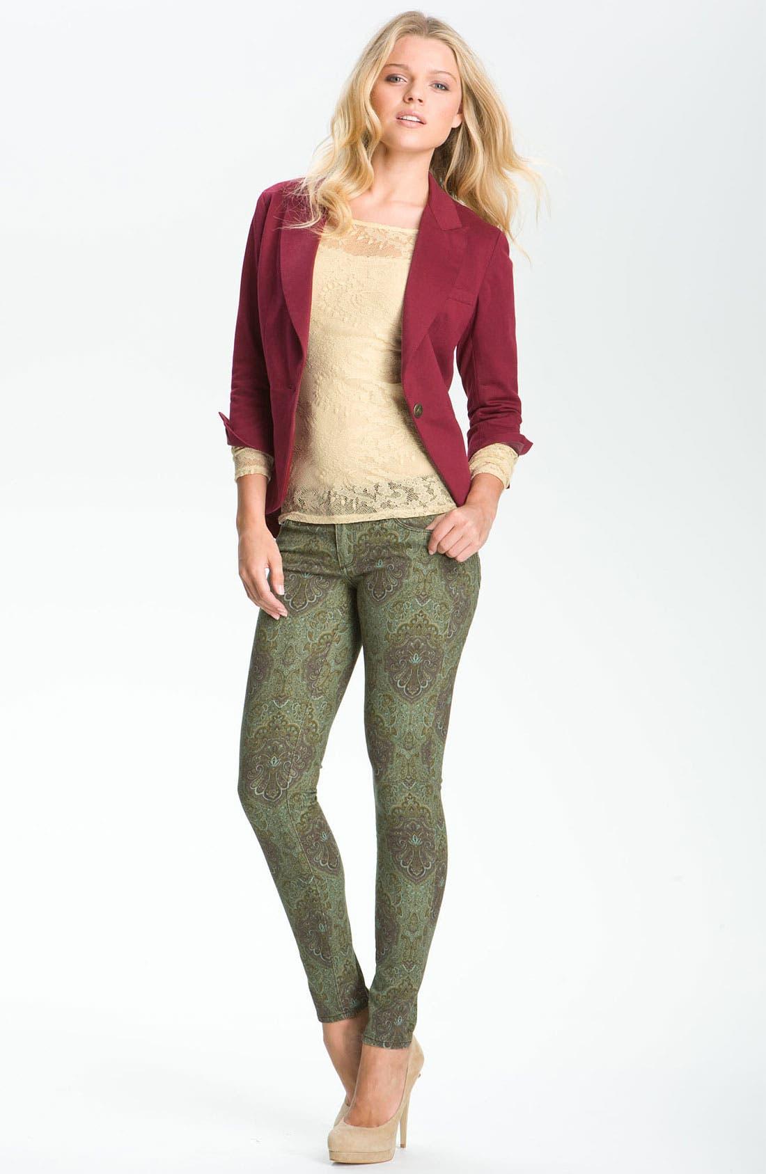 Denim 'Verdugo' Print Skinny Jeans,                             Alternate thumbnail 3, color,                             300