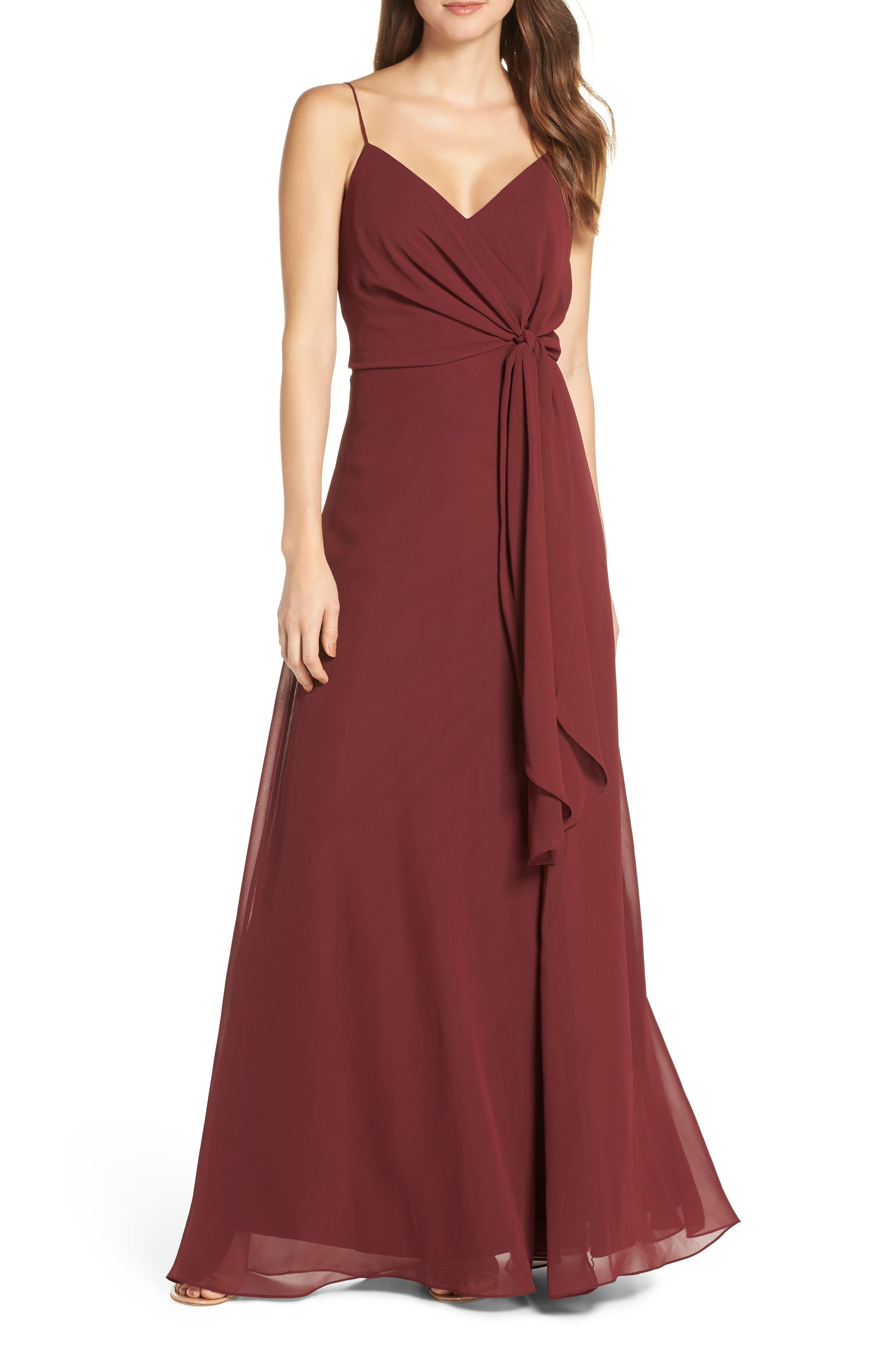 Jenny Yoo Amara Chiffon Overlay V-Neck Evening Dress