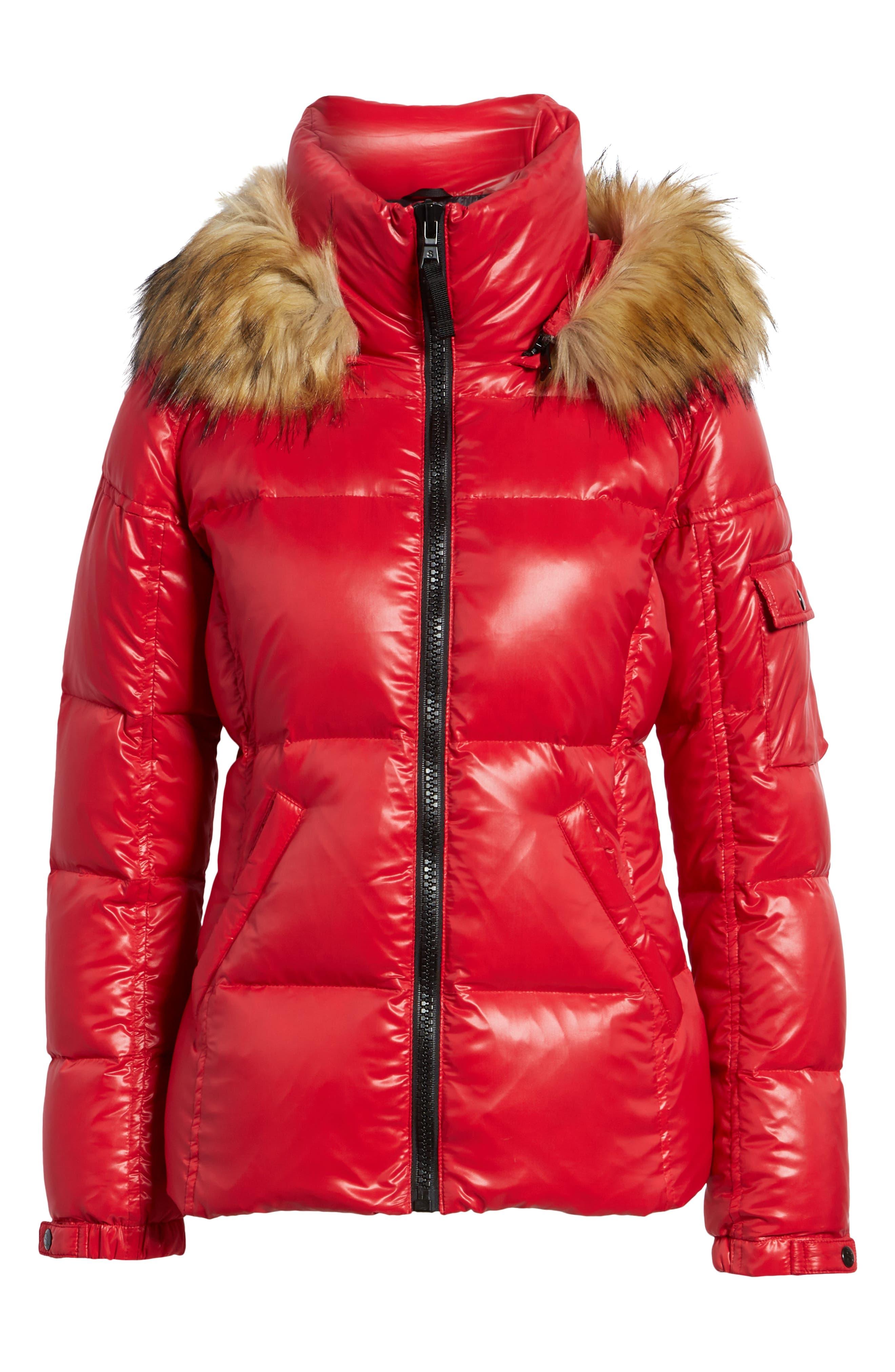 Kylie Faux Fur Trim Gloss Puffer Jacket,                             Alternate thumbnail 28, color,