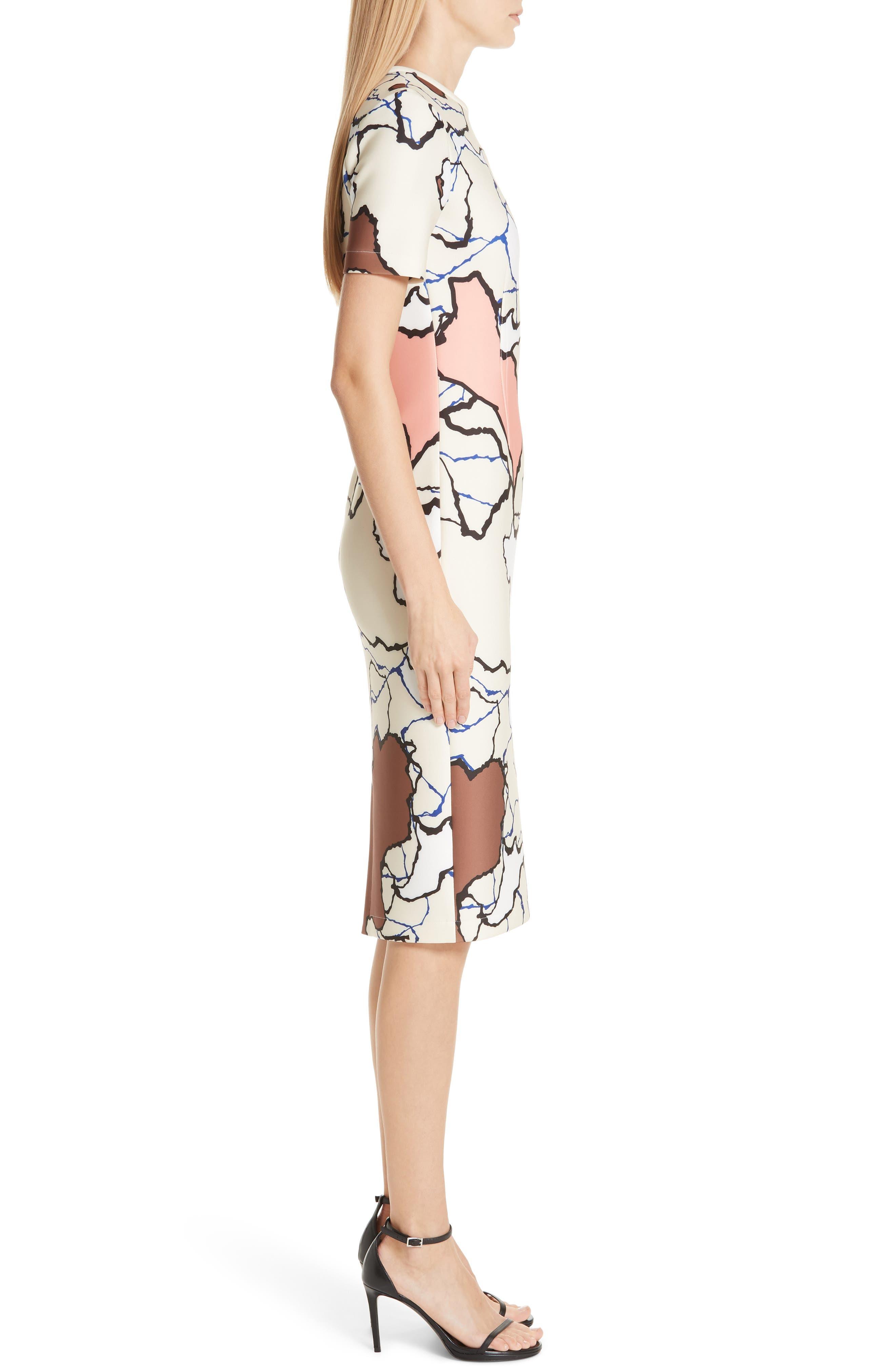 YIGAL AZROUËL,                             Terrazzo Print Scuba Dress,                             Alternate thumbnail 4, color,                             MULTI