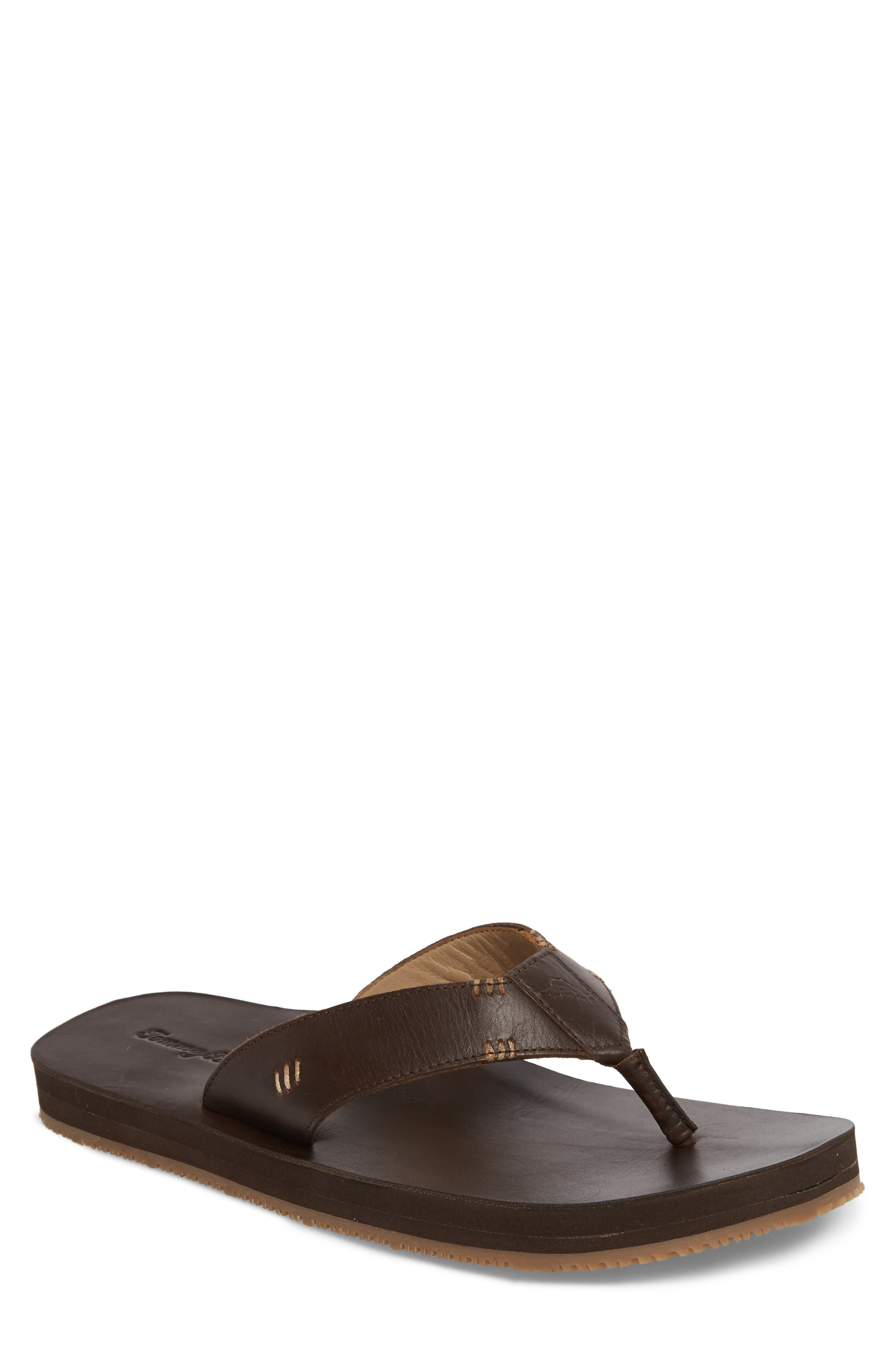 Adderly Flip Flop,                             Main thumbnail 1, color,                             REDDISH BROWN LEATHER