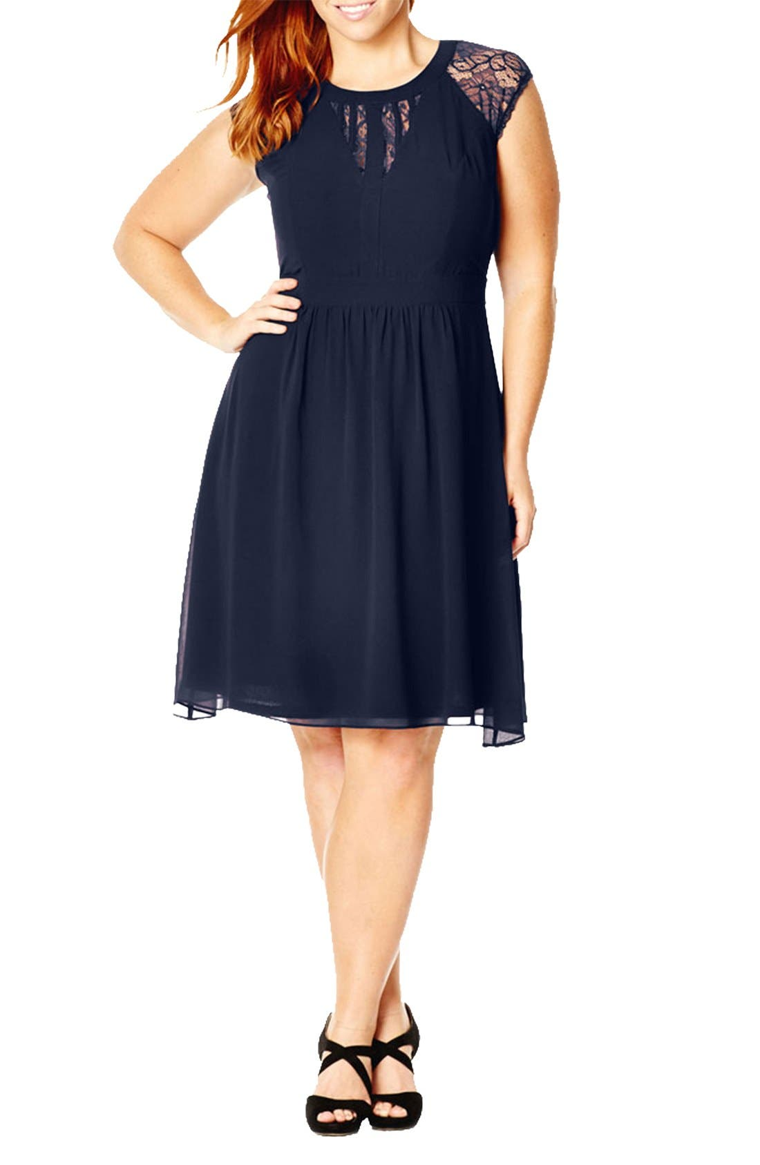 Plus Size City Chic Dark Romance Lace Detail Dress, Blue