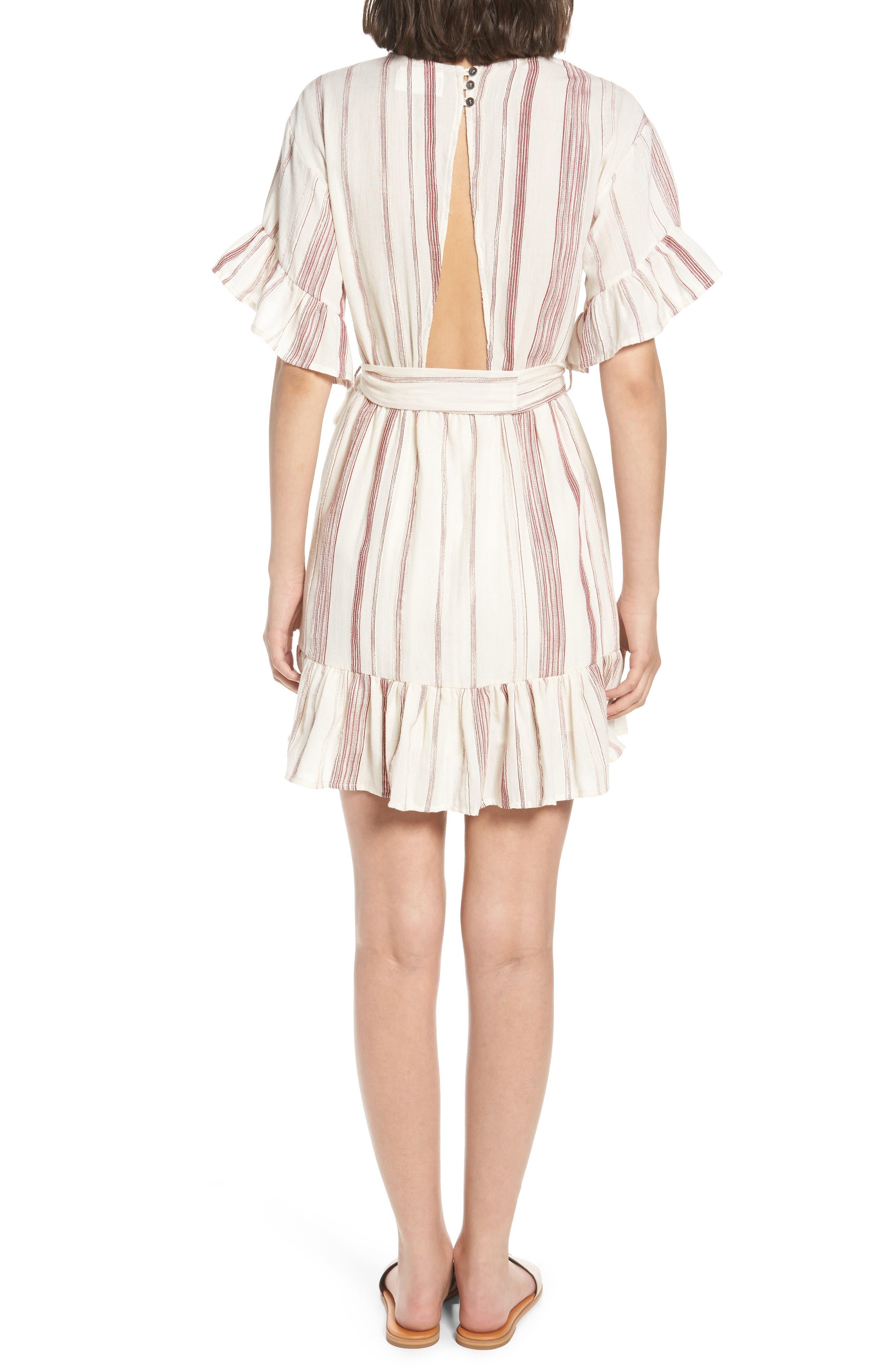 Marian Stripe Ruffle Minidress,                             Alternate thumbnail 2, color,                             600