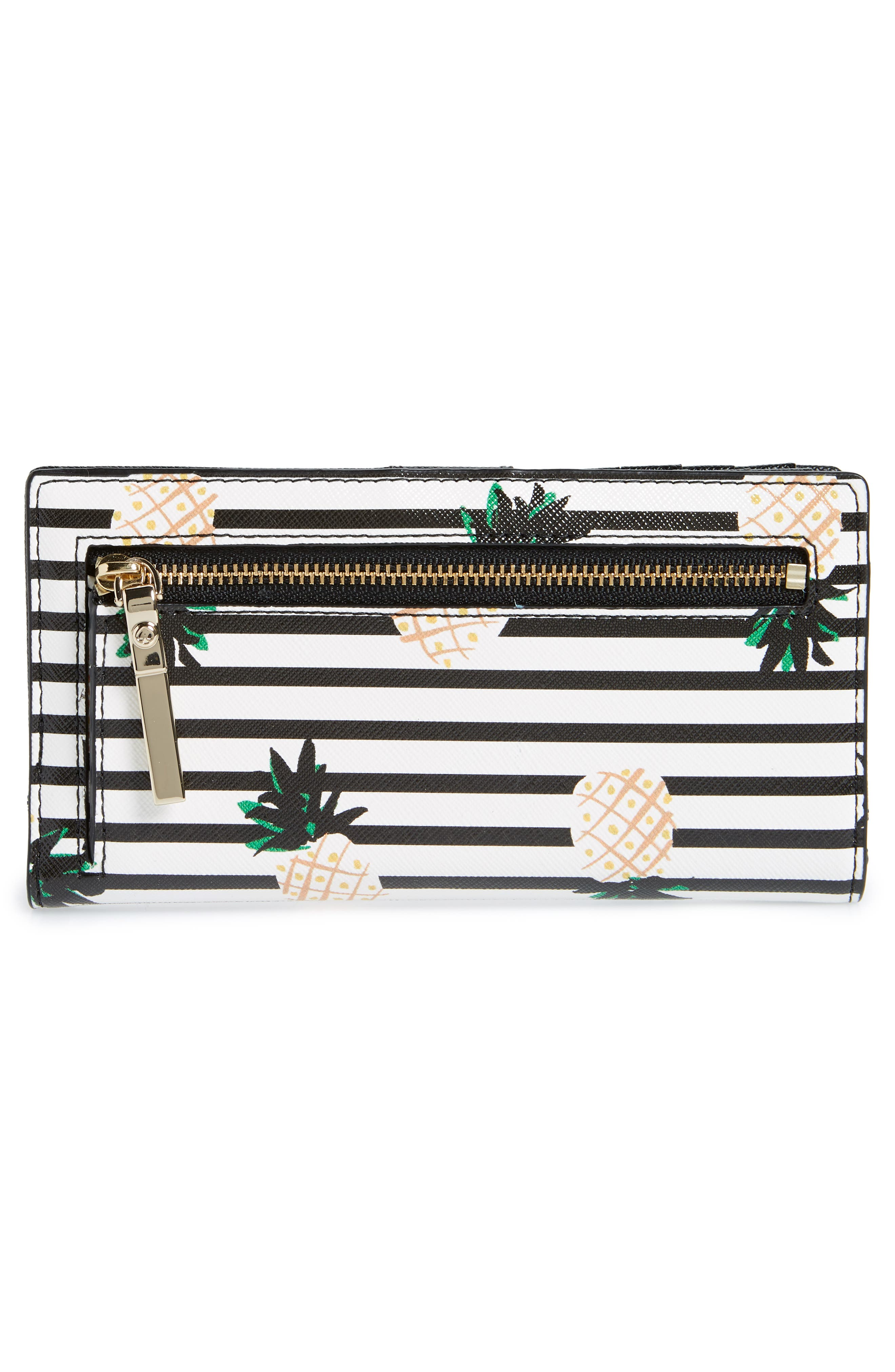 KATE SPADE NEW YORK,                             cameron street - stacy pineapples glazed canvas wallet,                             Alternate thumbnail 3, color,                             700