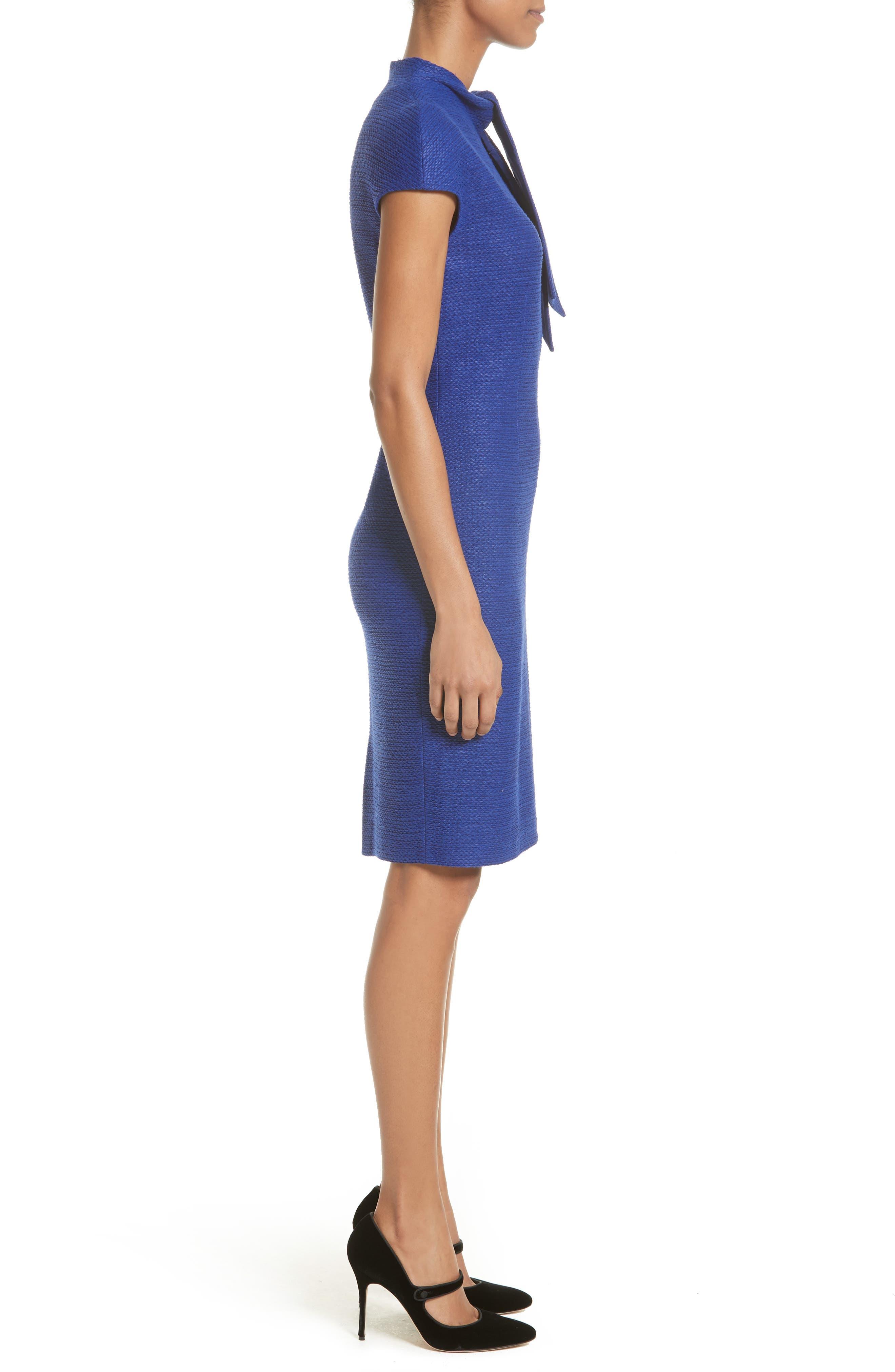 Sheen Tape Knit Tie Neck Dress,                             Alternate thumbnail 3, color,                             430