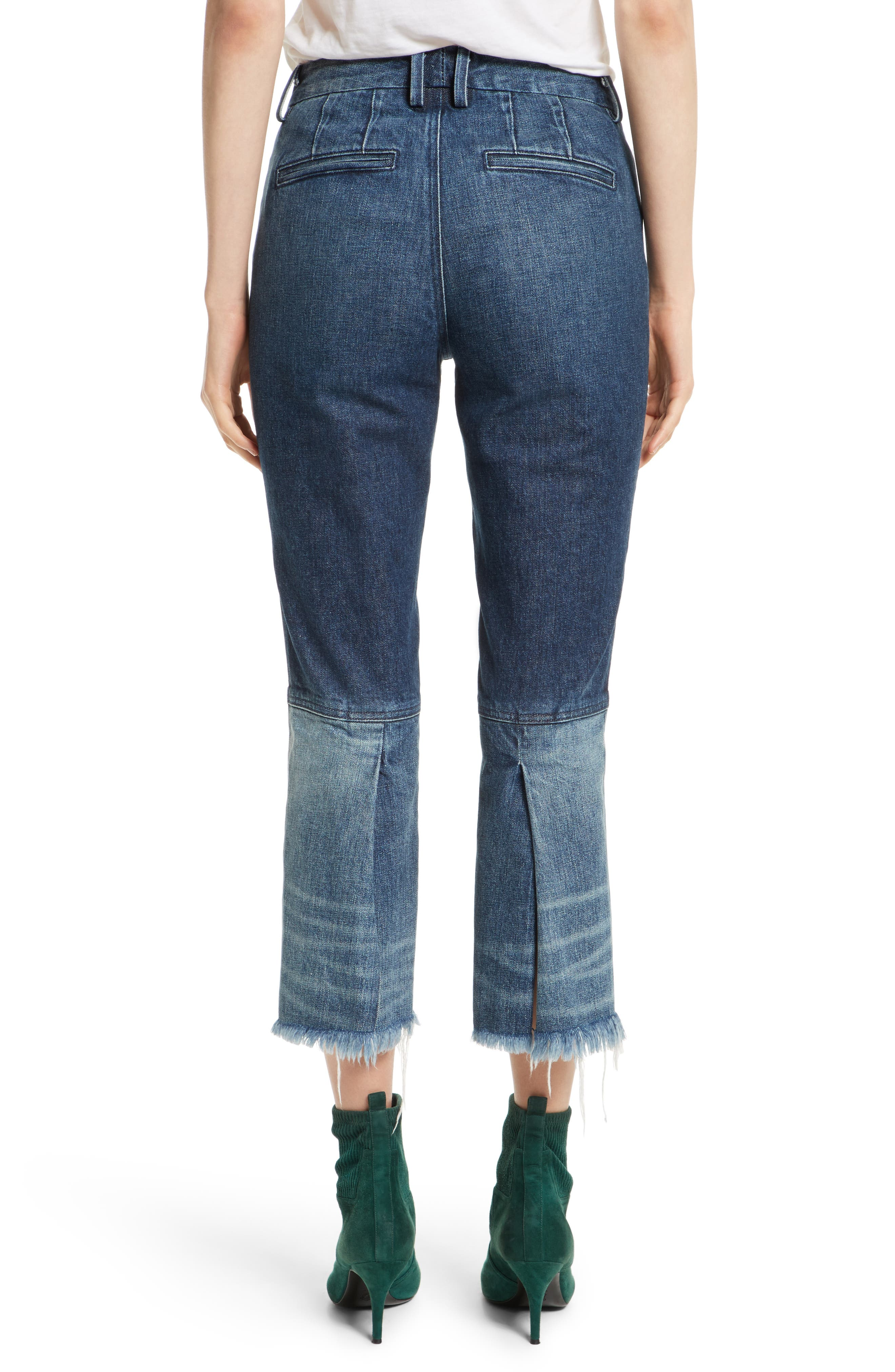 Frayed Seamed Crop Jeans,                             Alternate thumbnail 2, color,                             410
