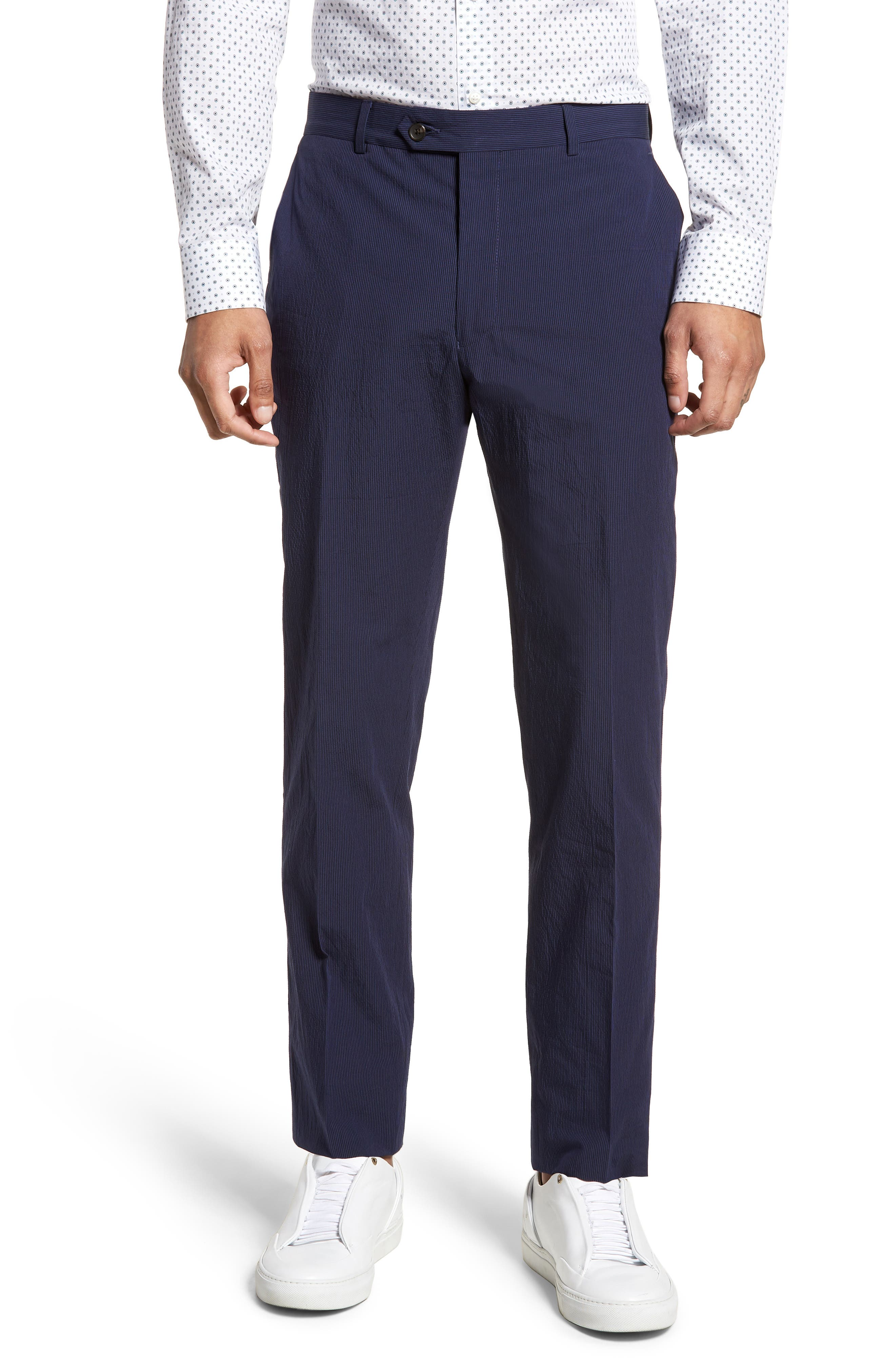 Dagger Flat Front Seersucker Trousers,                             Main thumbnail 1, color,                             400