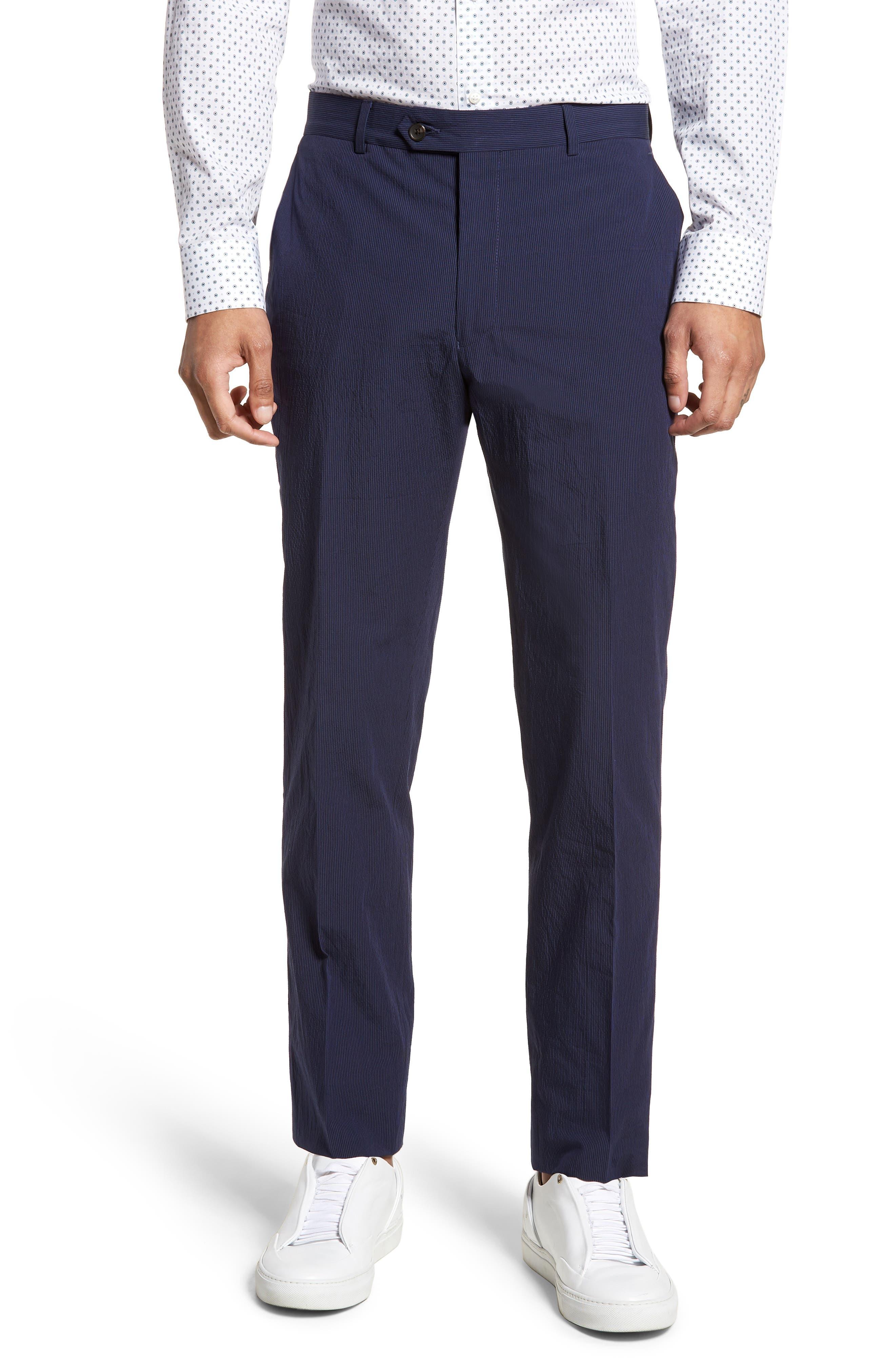 Dagger Flat Front Seersucker Trousers,                         Main,                         color, 400