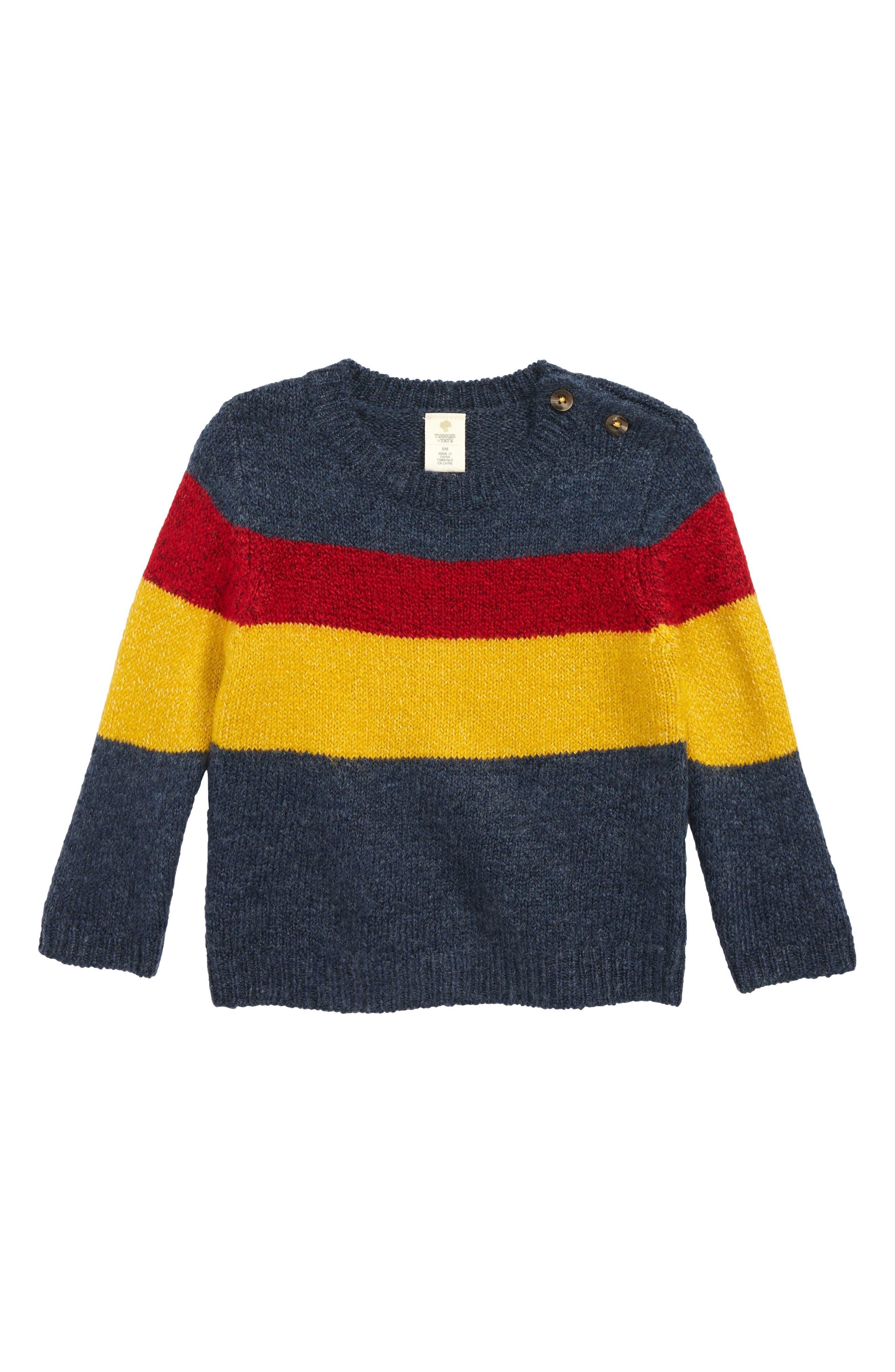 Bold Stripe Sweater,                             Main thumbnail 1, color,                             NAVY DENIM MULTI STRIPE