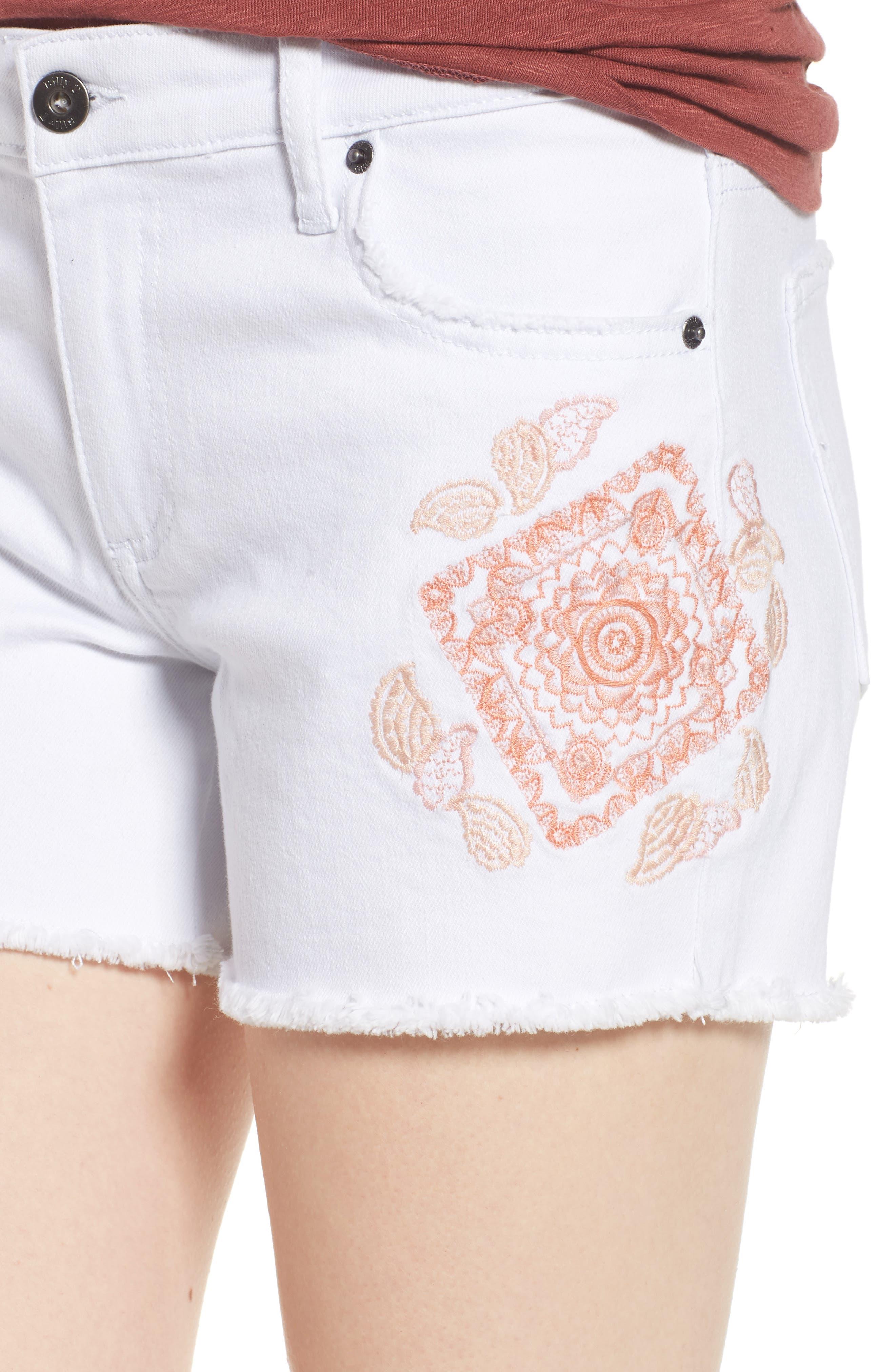Embroidered Denim Shorts,                             Alternate thumbnail 4, color,                             100