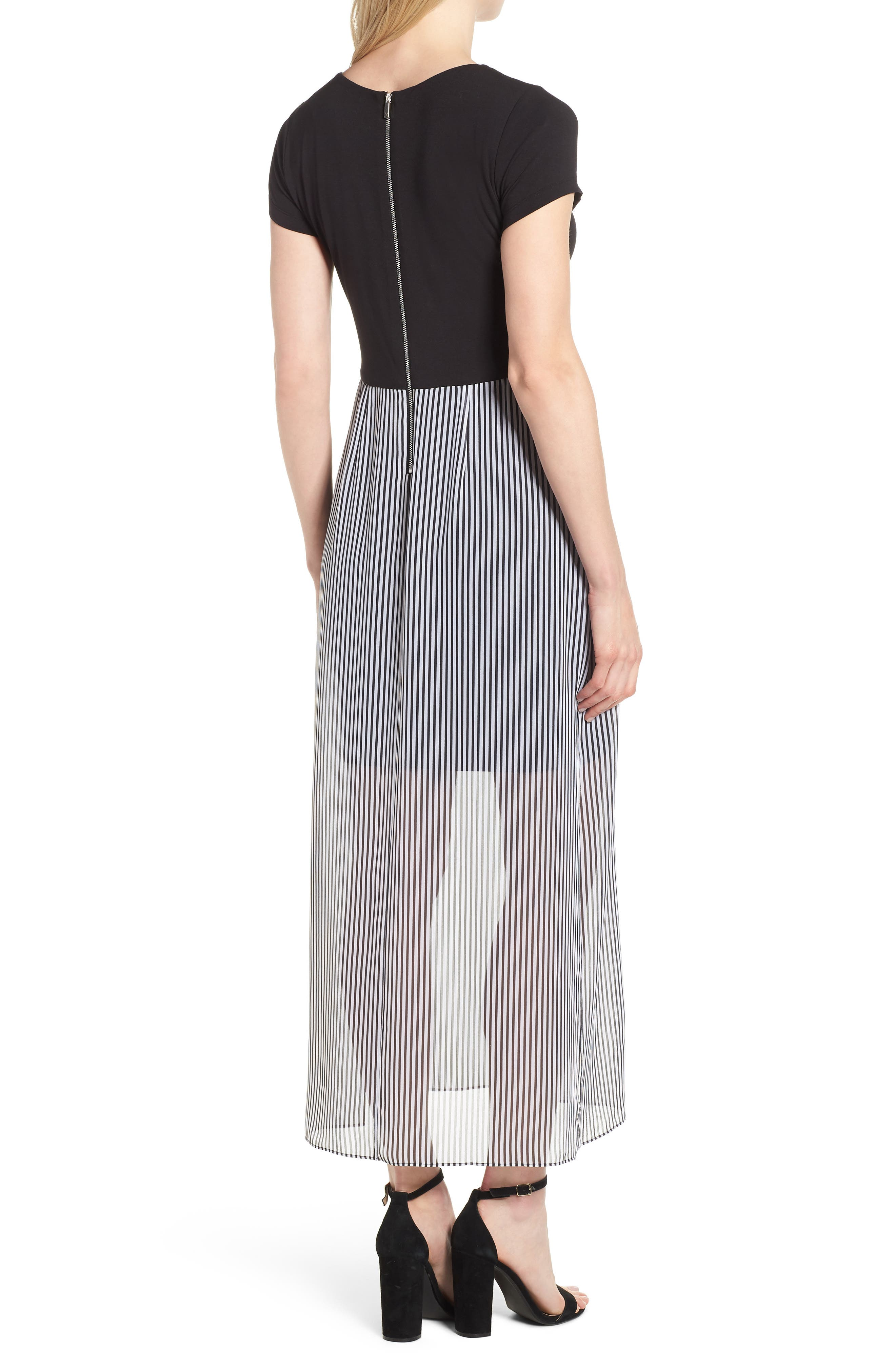 Stripe Chiffon Overlay Maxi Dress,                             Alternate thumbnail 2, color,                             RICH BLACK