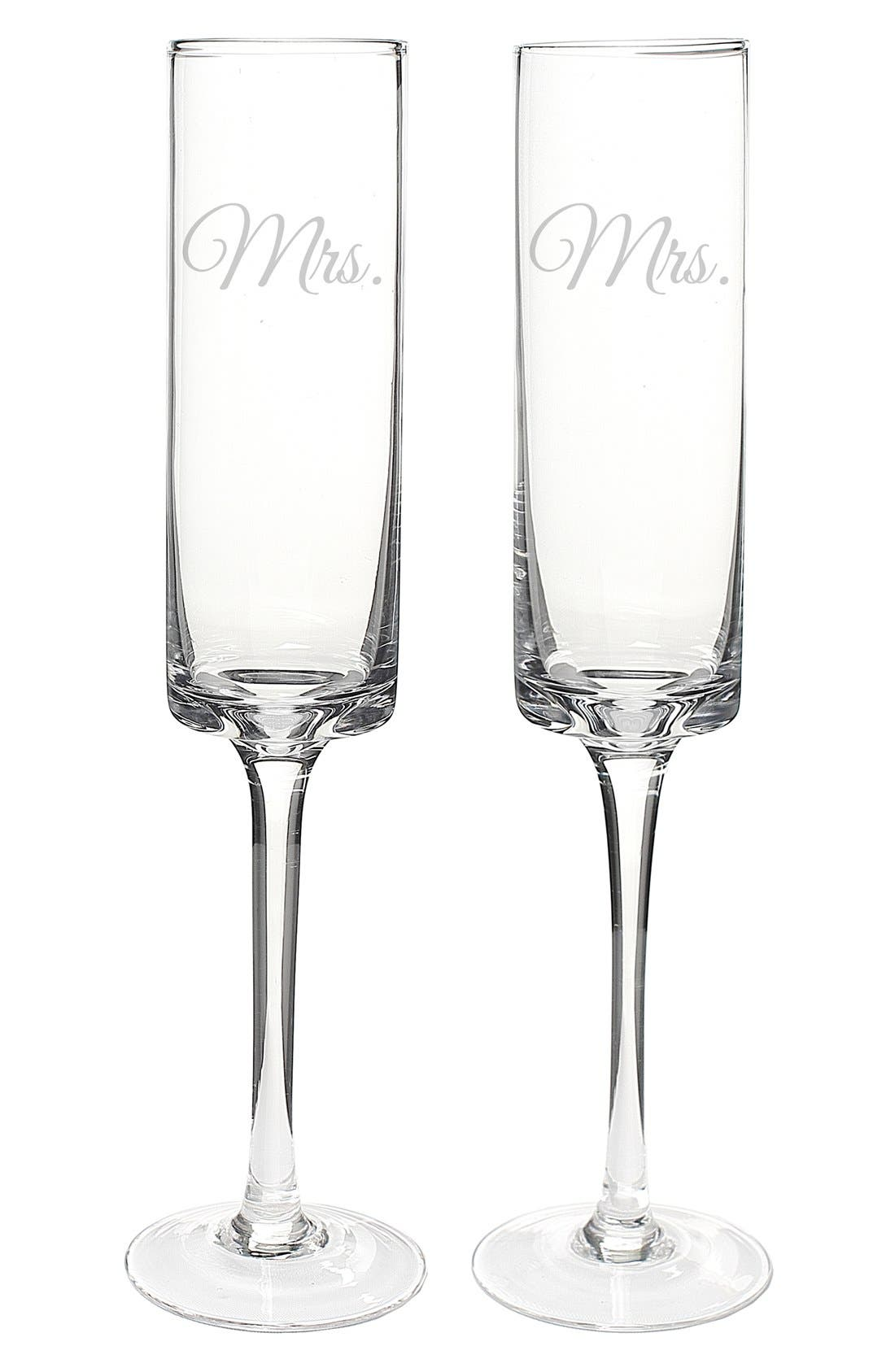 'For the Couple' Etched Contemporary Champagne Flutes,                             Alternate thumbnail 2, color,                             MRS & MRS