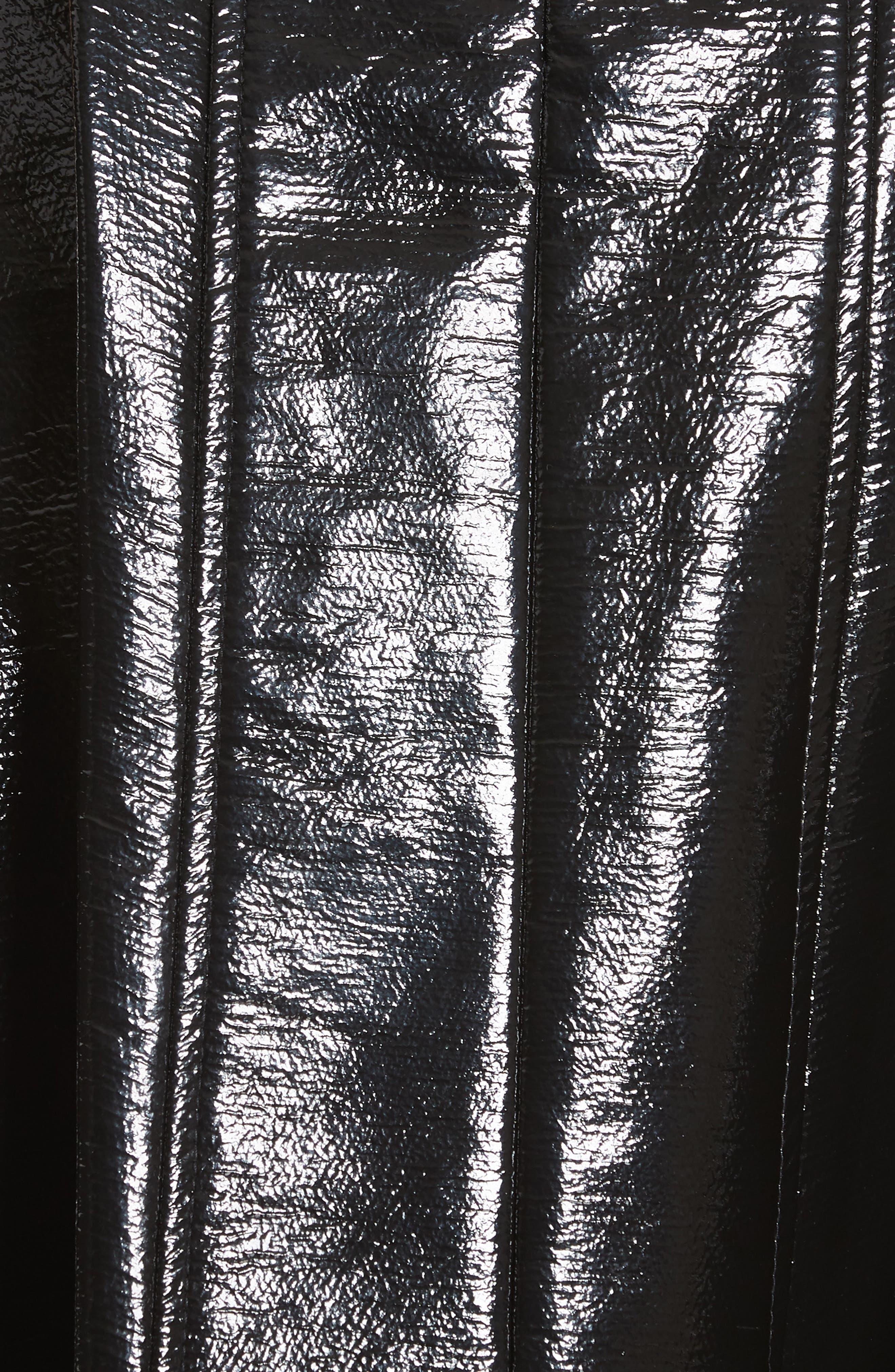 Trivia Coated Miniskirt,                             Alternate thumbnail 5, color,                             BLACK