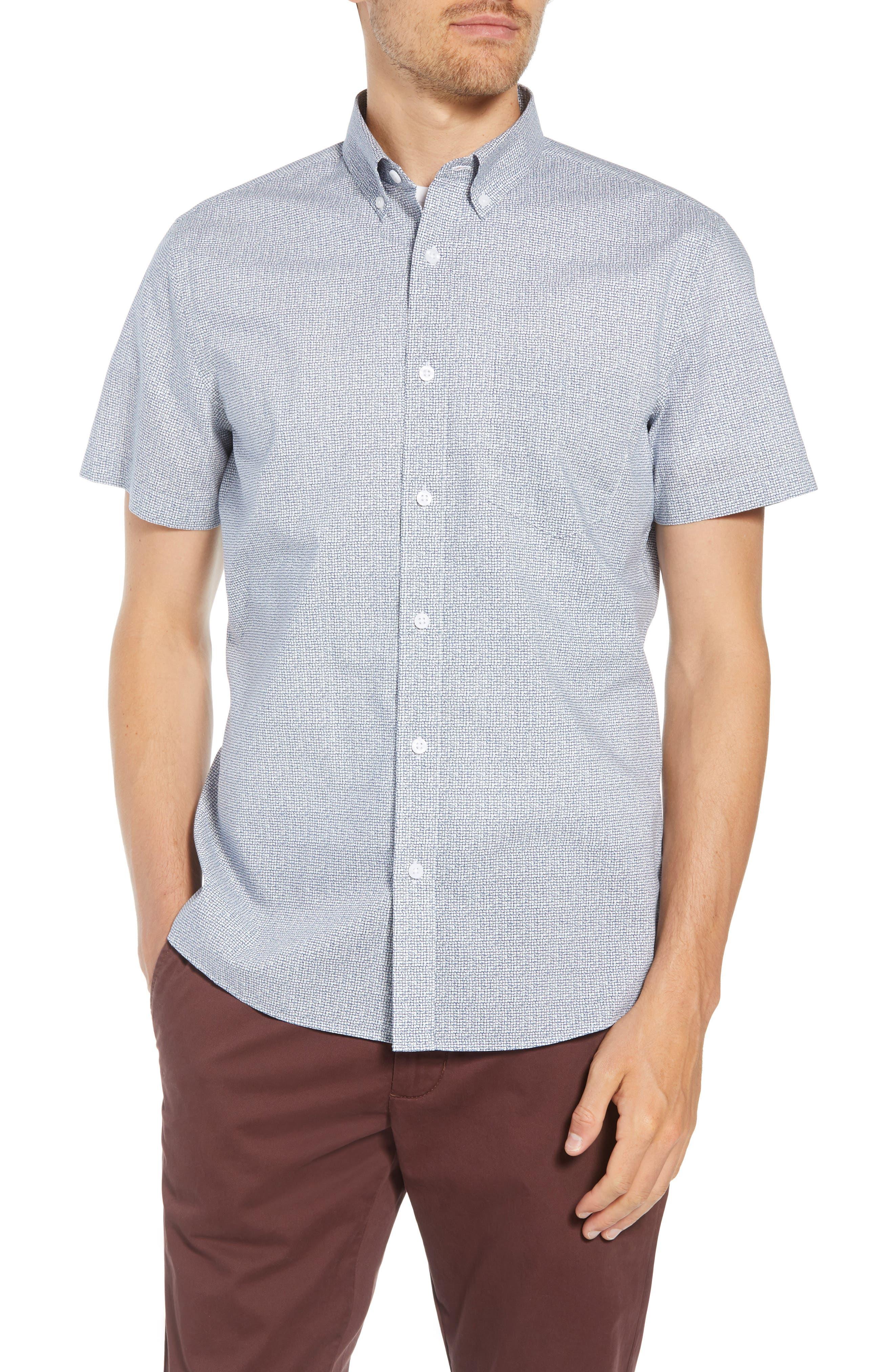 Ivy Trim Fit Print Sport Shirt,                             Main thumbnail 1, color,                             NAVY IRIS TEXTURED GRID