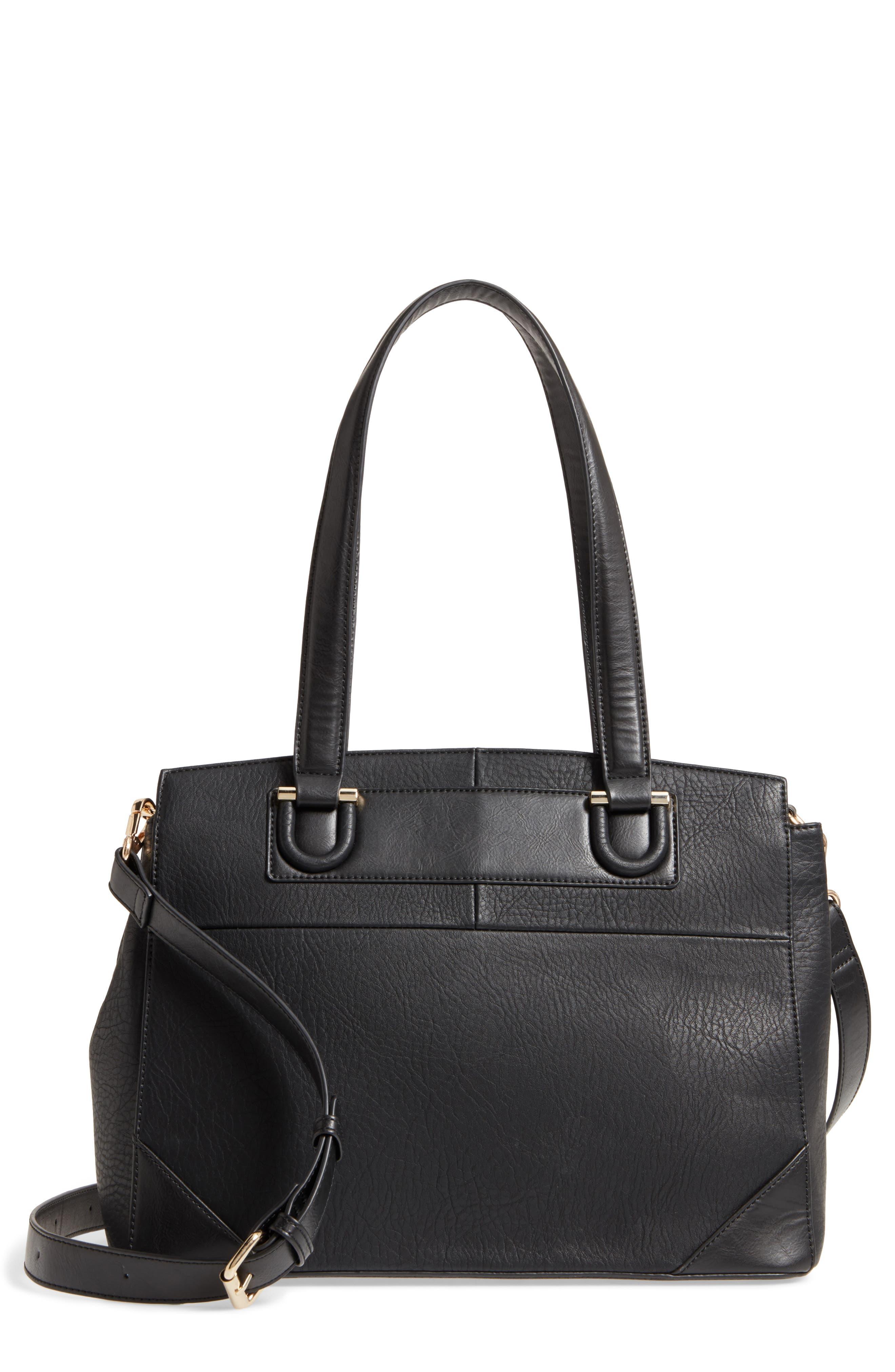 Sterling Faux Leather Satchel,                         Main,                         color, BLACK