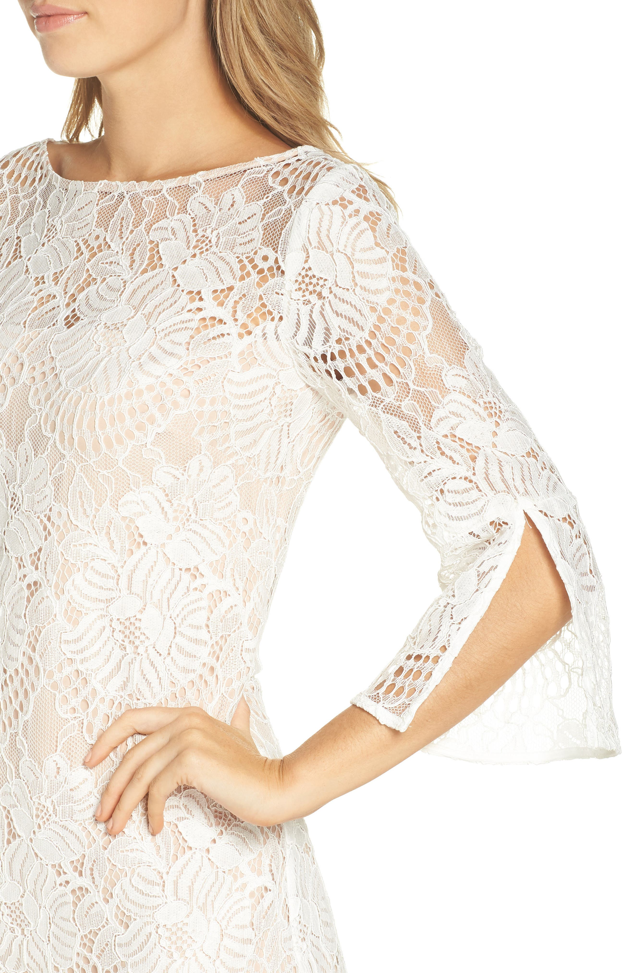 VINCE CAMUTO,                             Lace Shift Dress,                             Alternate thumbnail 4, color,                             IVORY