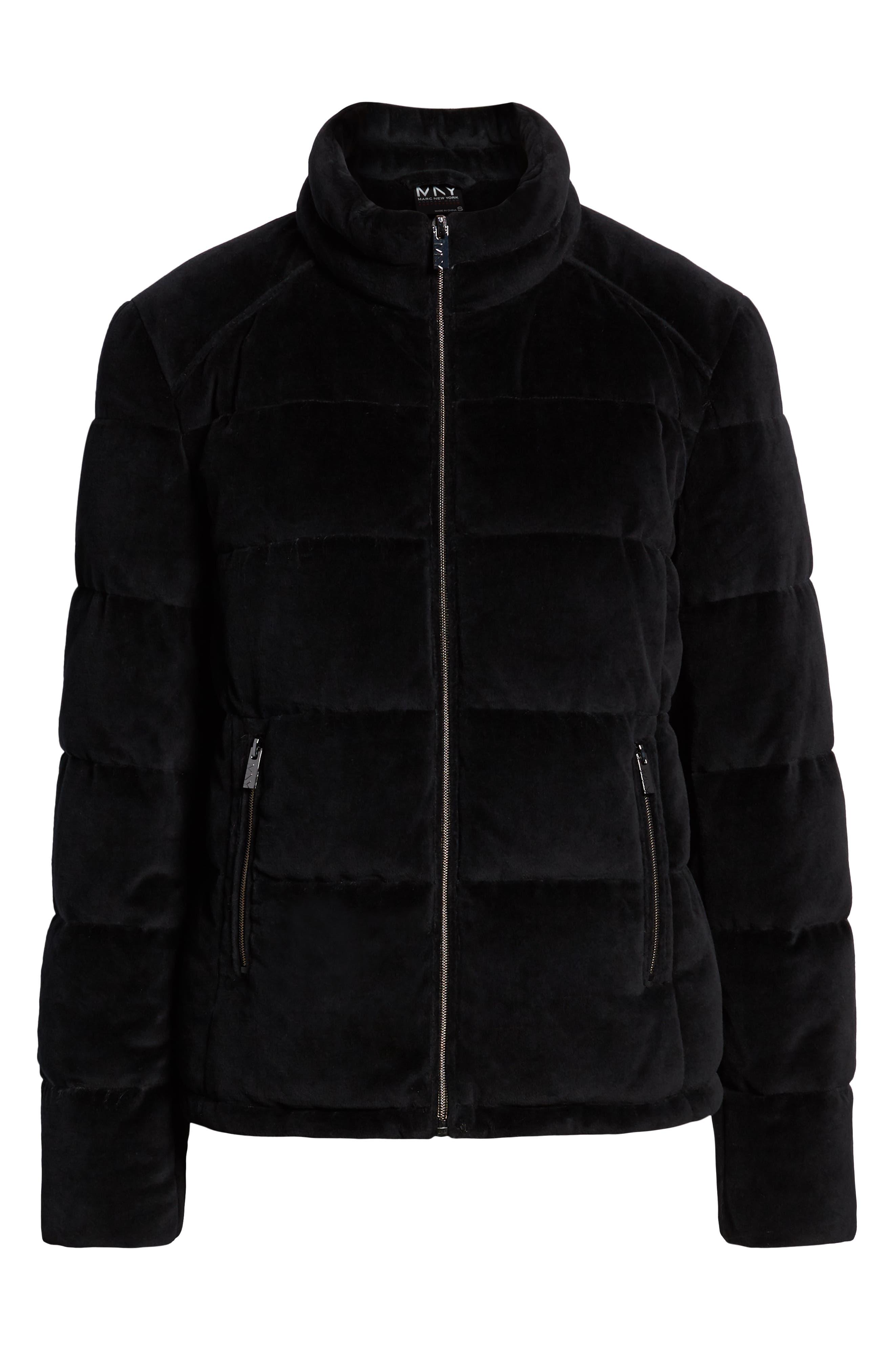 Velvet Puffer Jacket, Alternate, color, BLACK