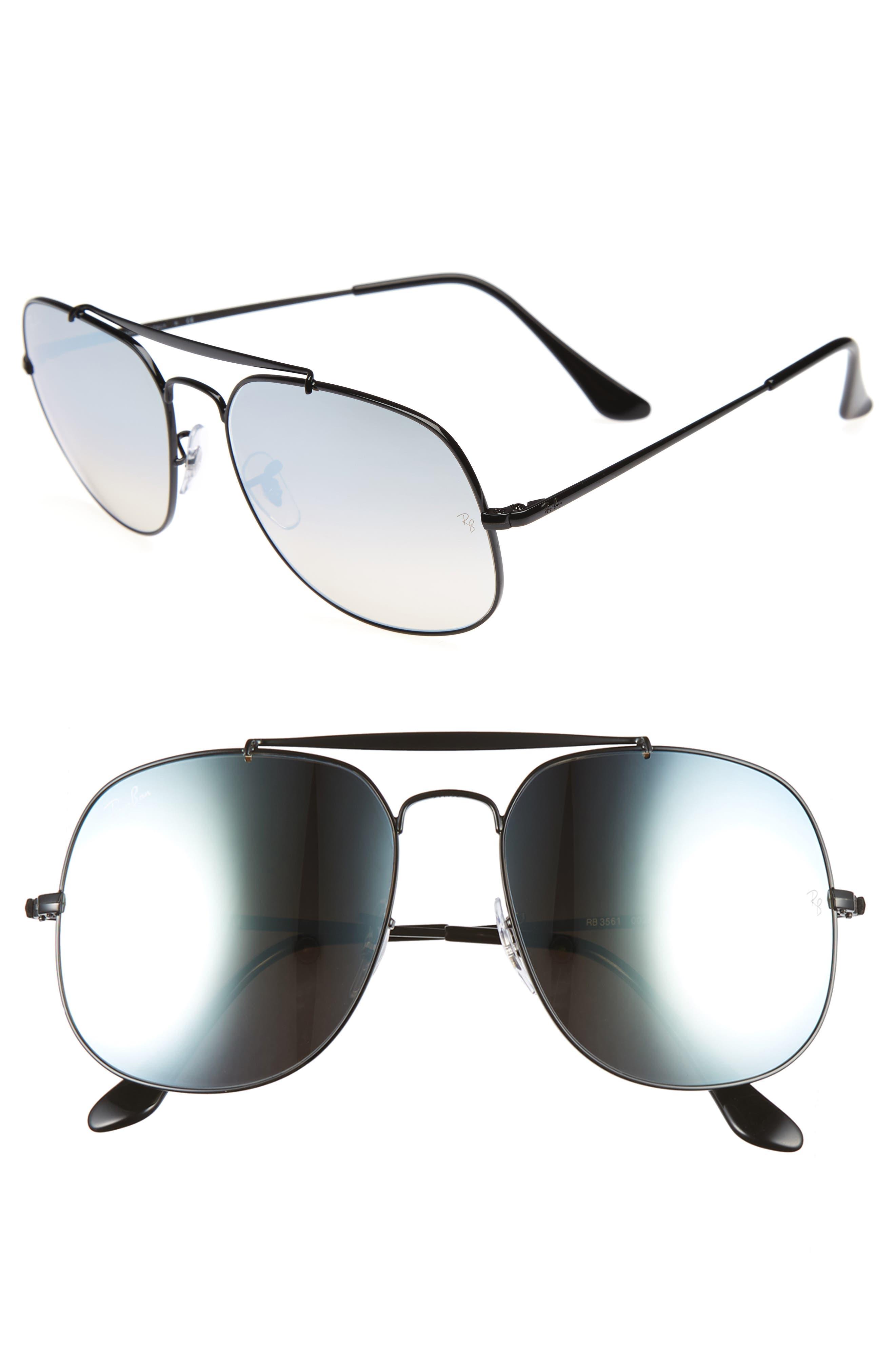 The General 57mm Aviator Sunglasses,                         Main,                         color, BLACK/SILVER GRADIENT