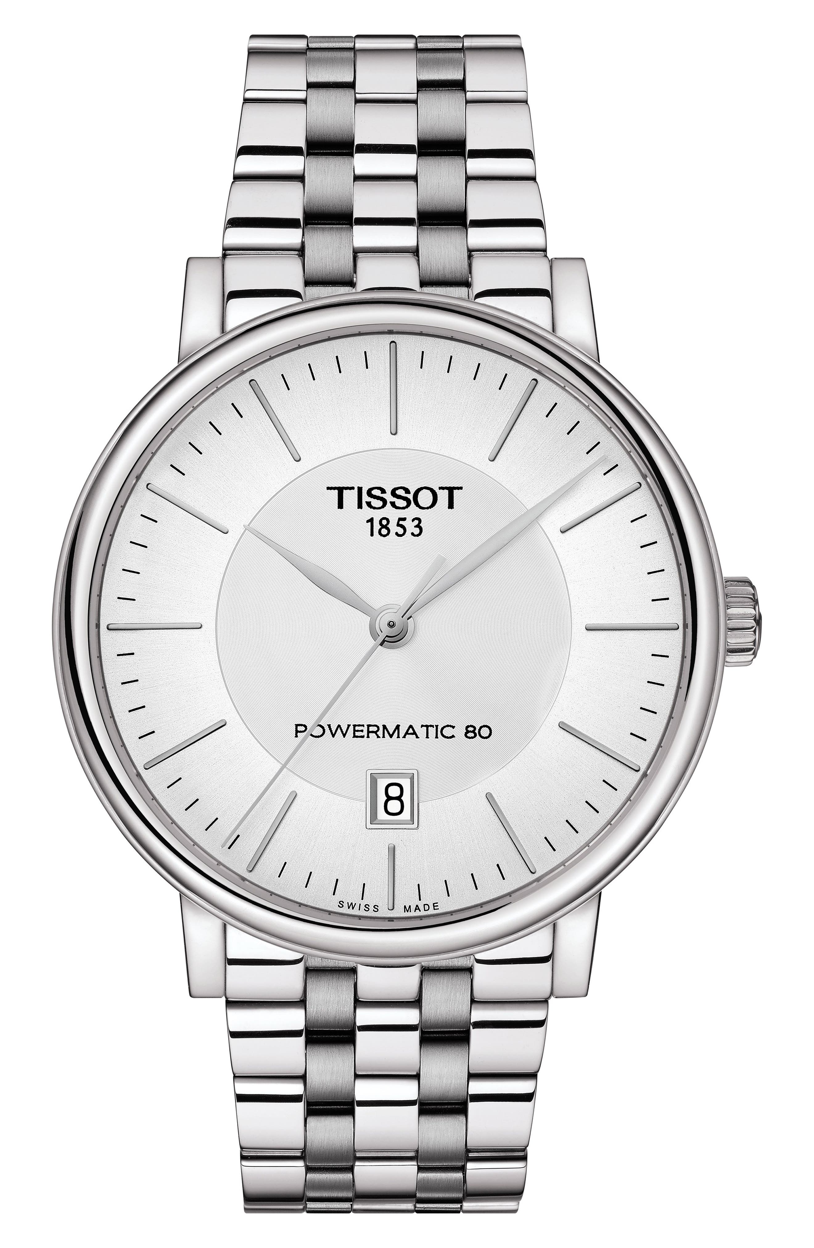 T-Classic Carson Powermatic Bracelet Watch, 40Mm in Silver/ White/ Silver