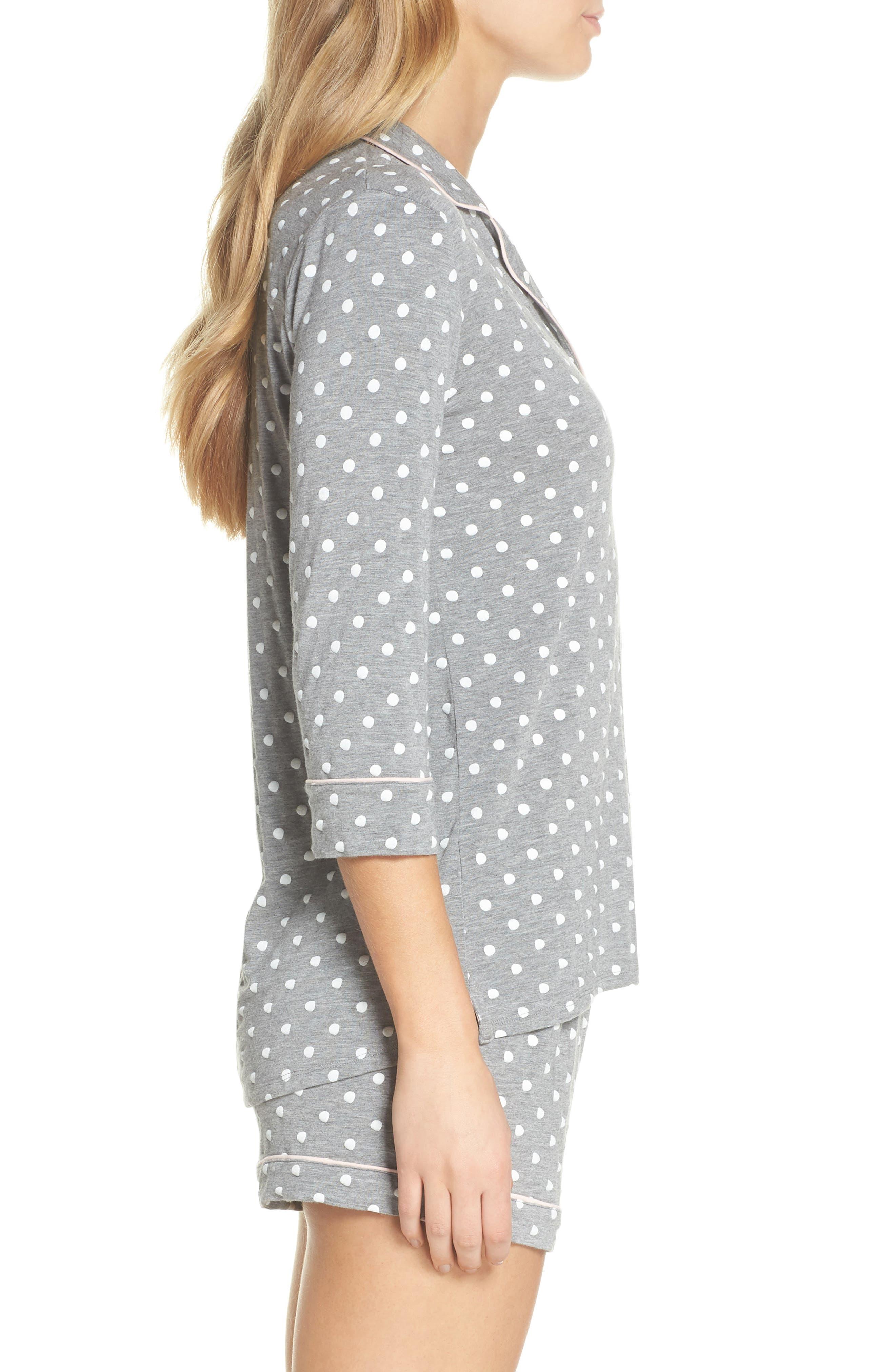 Modal Three-Quarter Sleeve Short Pajamas,                             Alternate thumbnail 3, color,                             H GREY