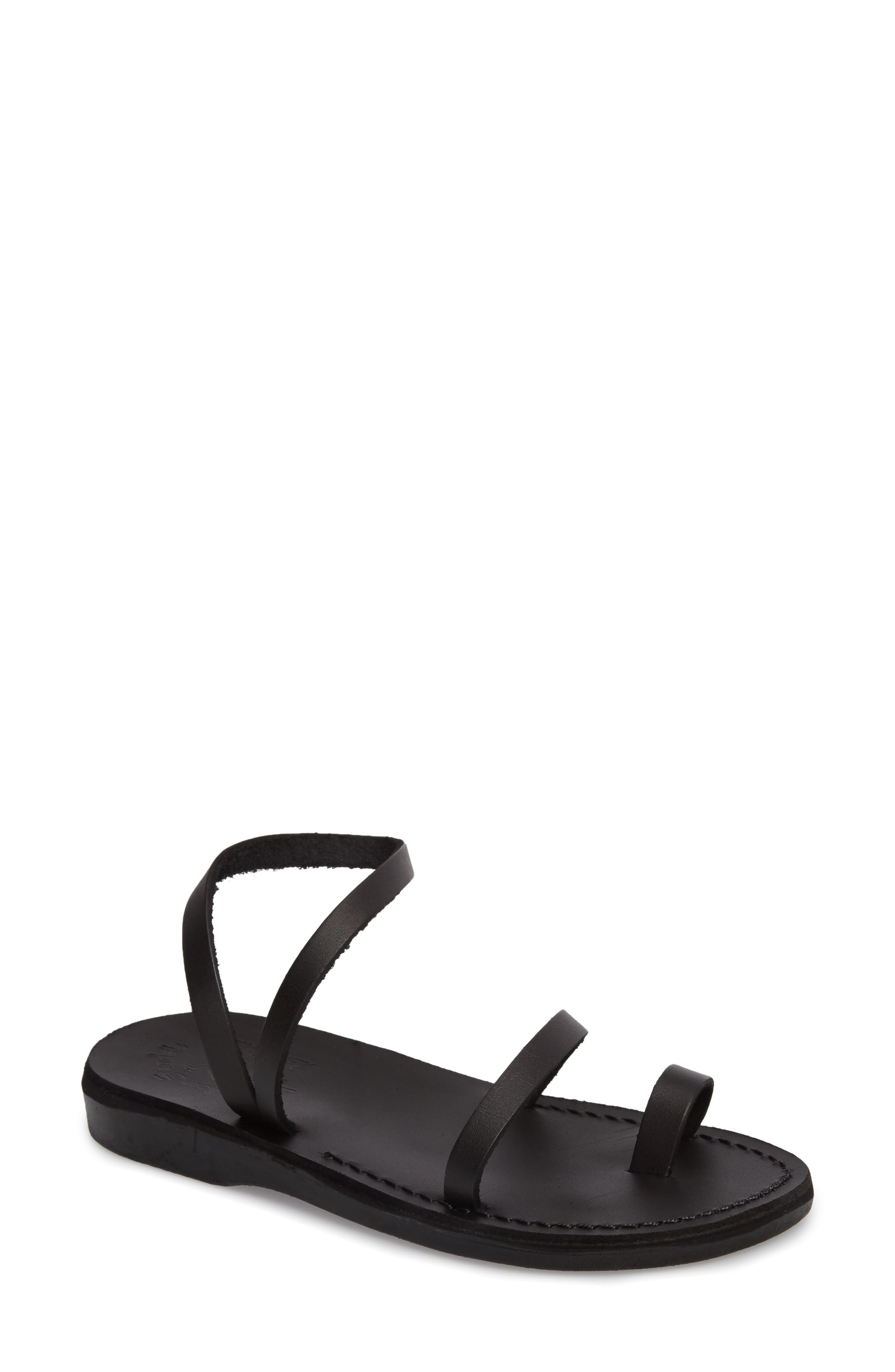 Ella Sandal,                             Main thumbnail 1, color,                             BLACK LEATHER