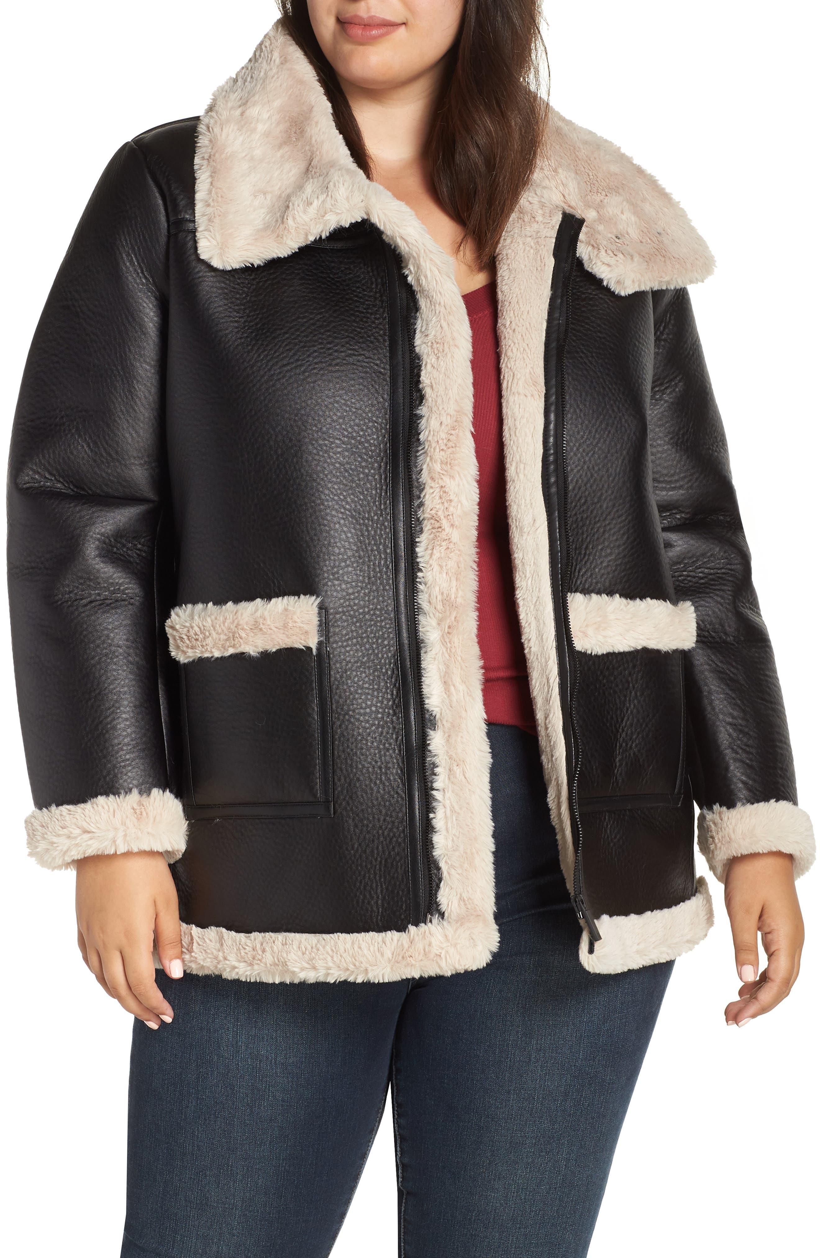Faux Shearling Jacket,                         Main,                         color, RICH BLACK
