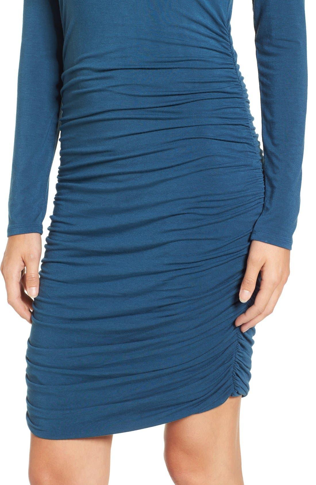 Side Ruched Turtleneck Dress,                             Alternate thumbnail 6, color,                             401