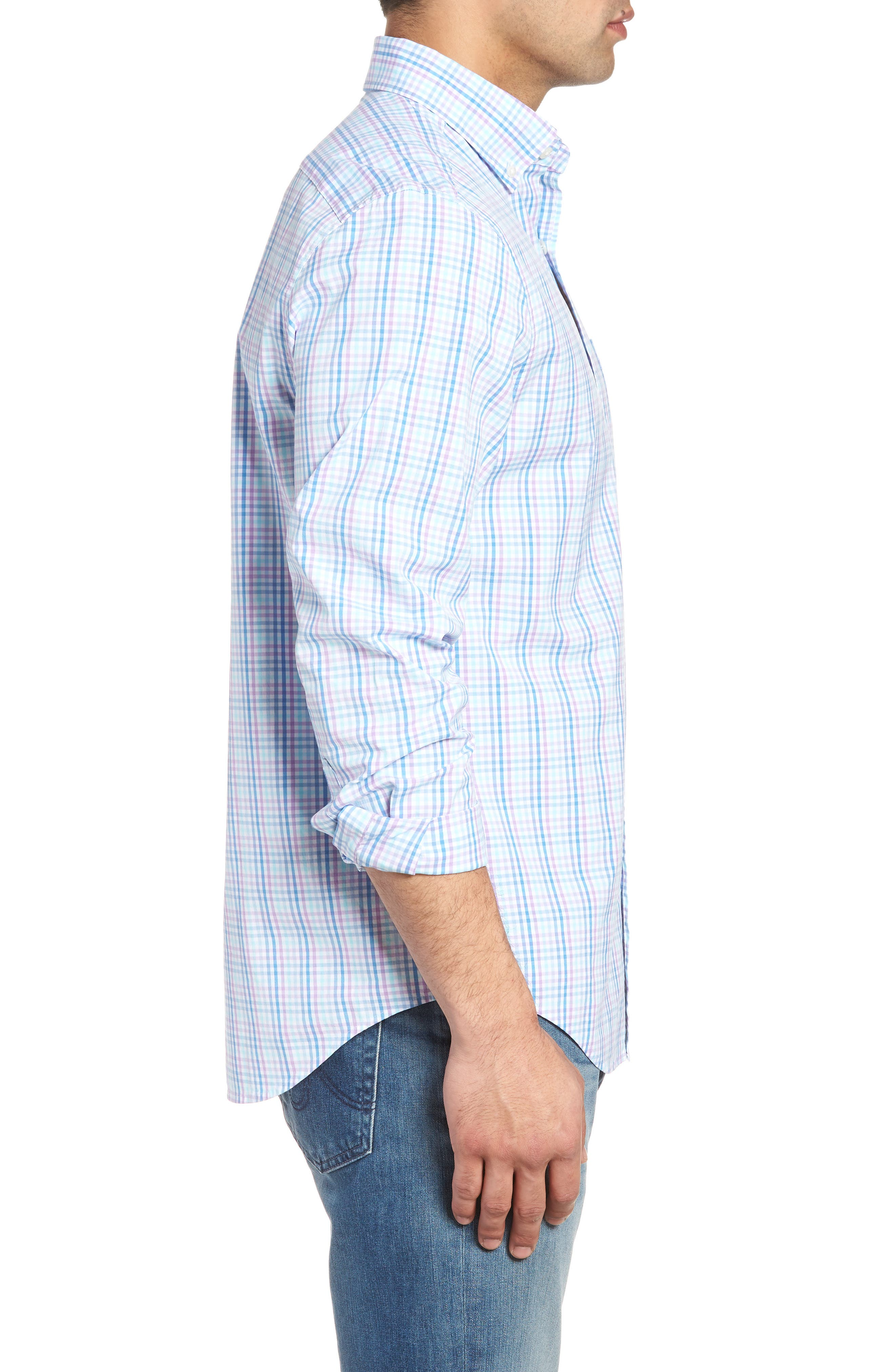 Friendly Island Classic Fit Stretch Check Sport Shirt,                             Alternate thumbnail 3, color,                             526