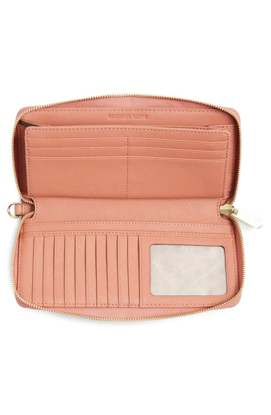 'Jet Set' Leather Travel Wallet,                             Alternate thumbnail 28, color,