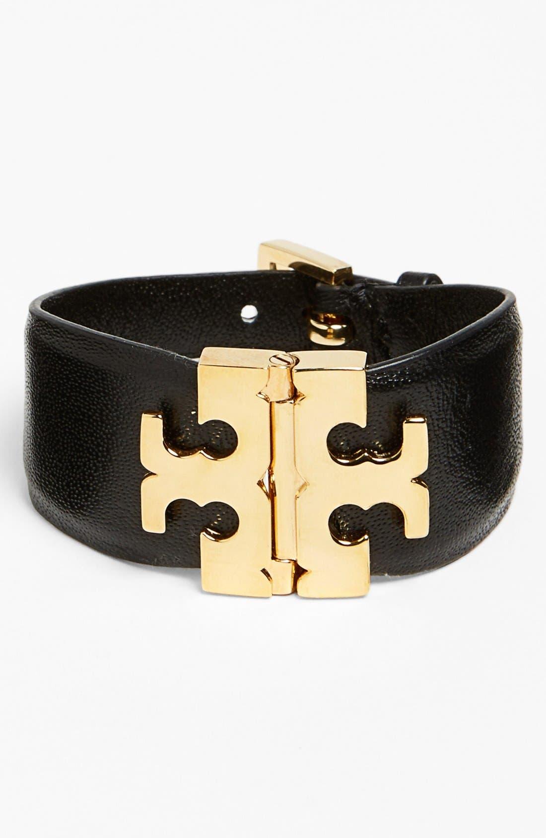 Wide T-Hinge Leather Bracelet,                             Main thumbnail 1, color,