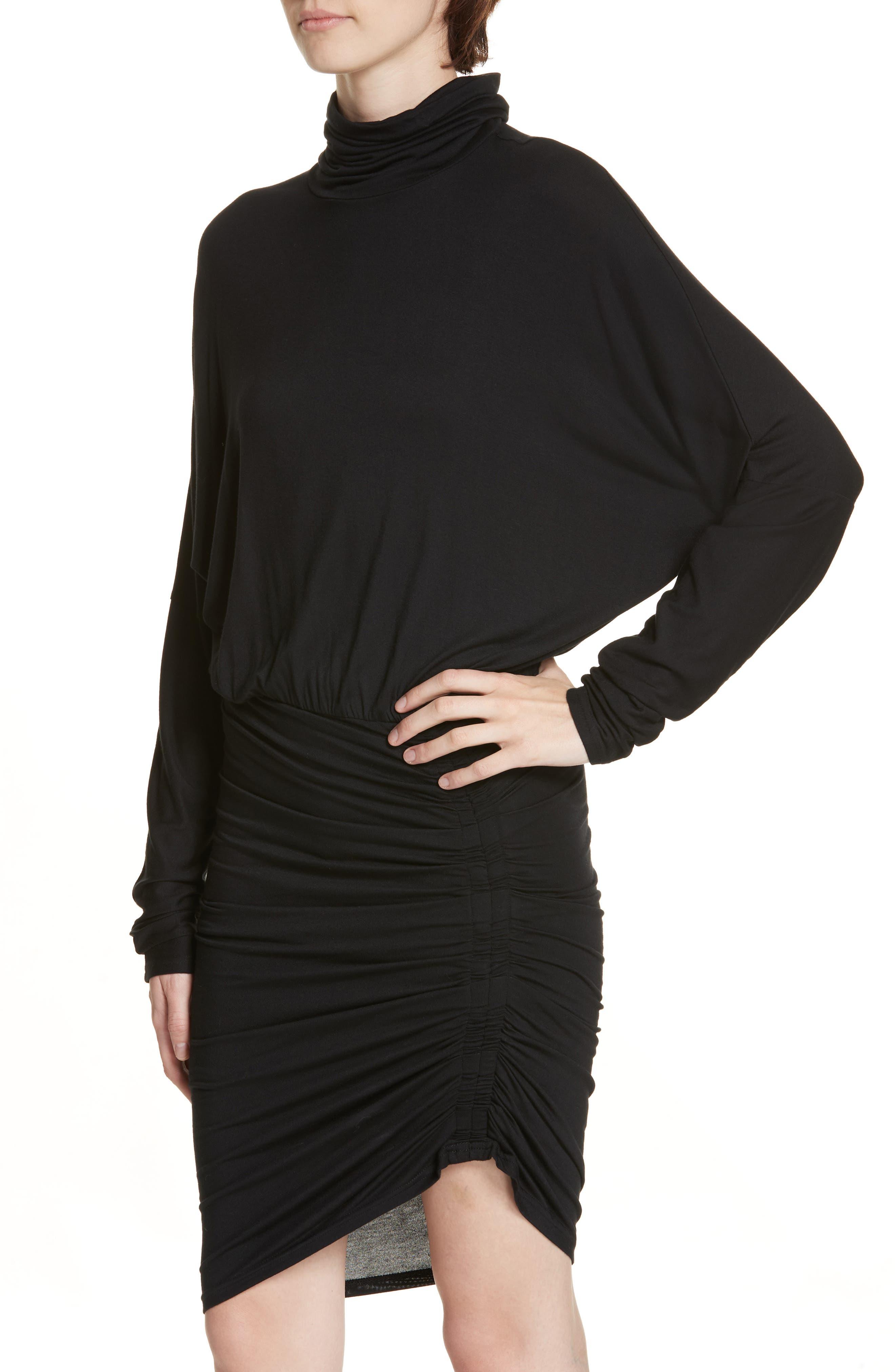 Manda Ruched Dress,                             Alternate thumbnail 4, color,                             BLACK