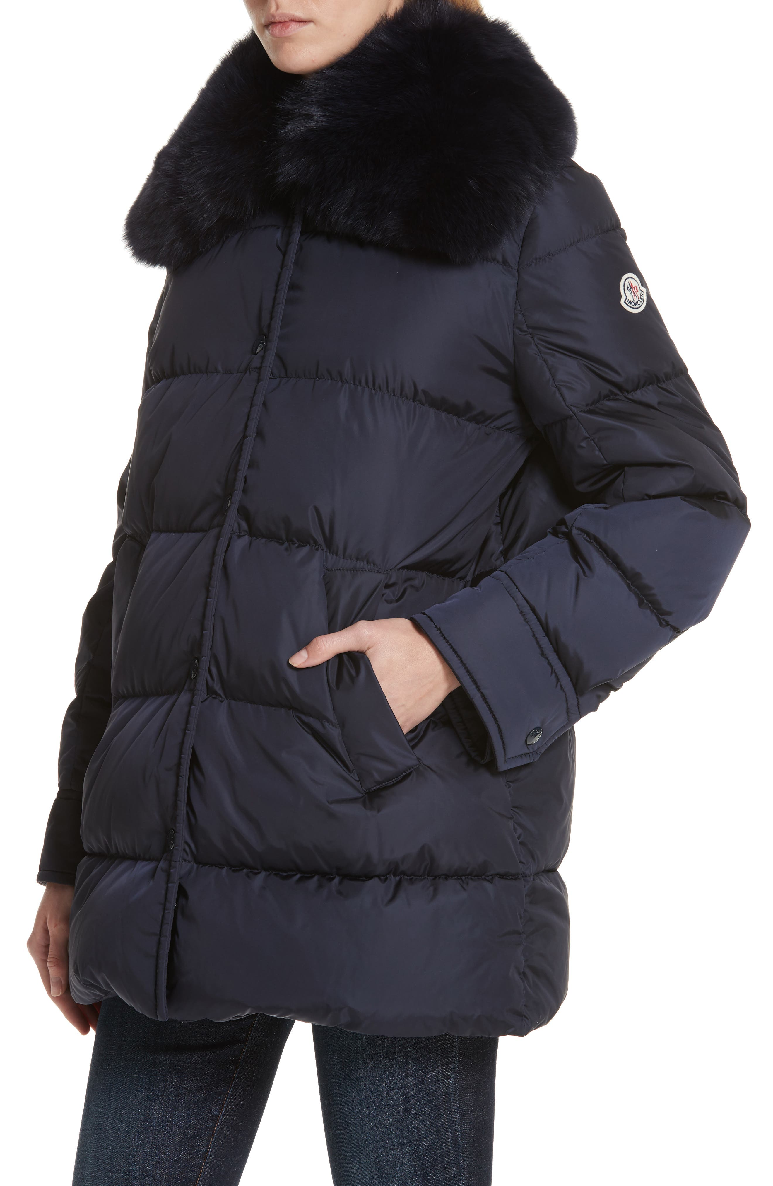 Mesange Quilted Down Coat with Removable Genuine Fox Fur Collar,                             Alternate thumbnail 4, color,                             NAVY