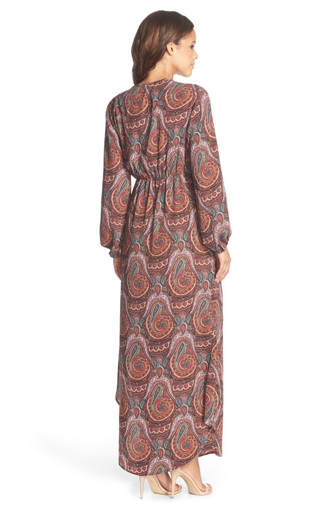 Paisley Print Maxi Dress,                             Alternate thumbnail 3, color,                             930