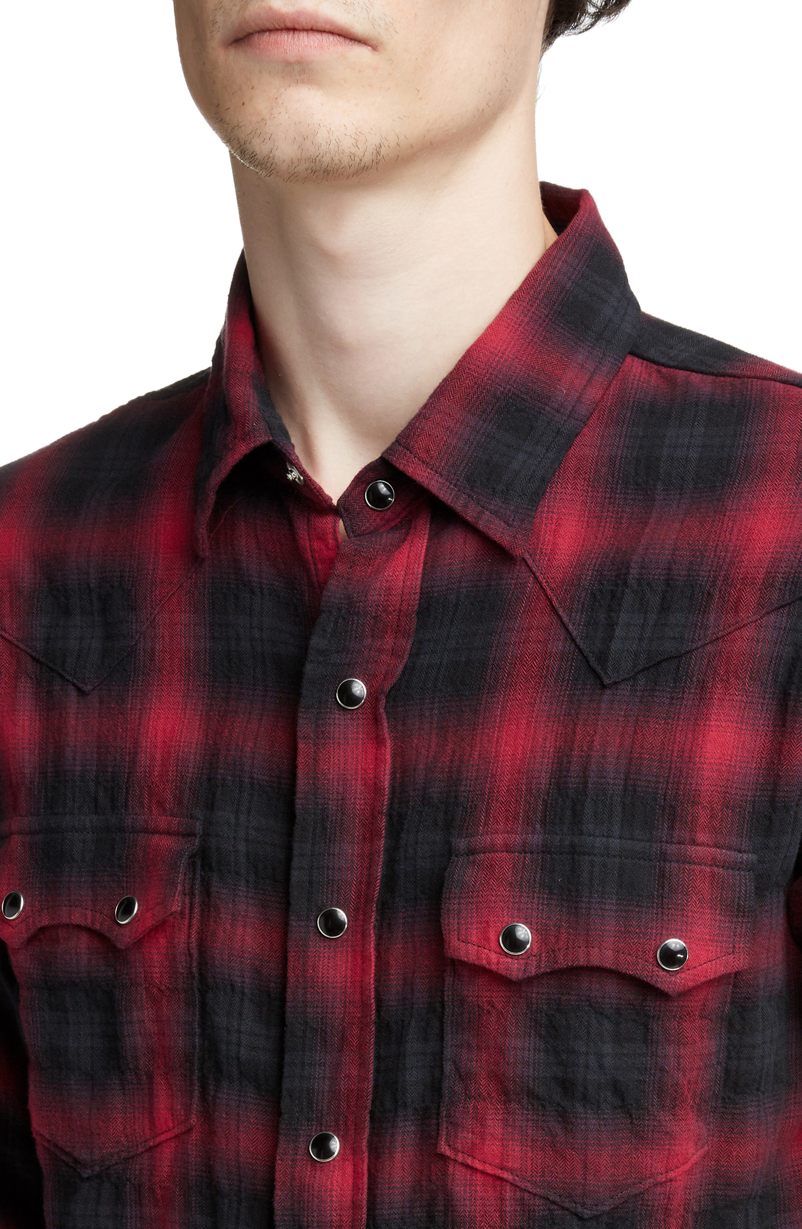 Classic Fit Check Western Shirt,                             Alternate thumbnail 2, color,                             BLACK AND RED CHECK
