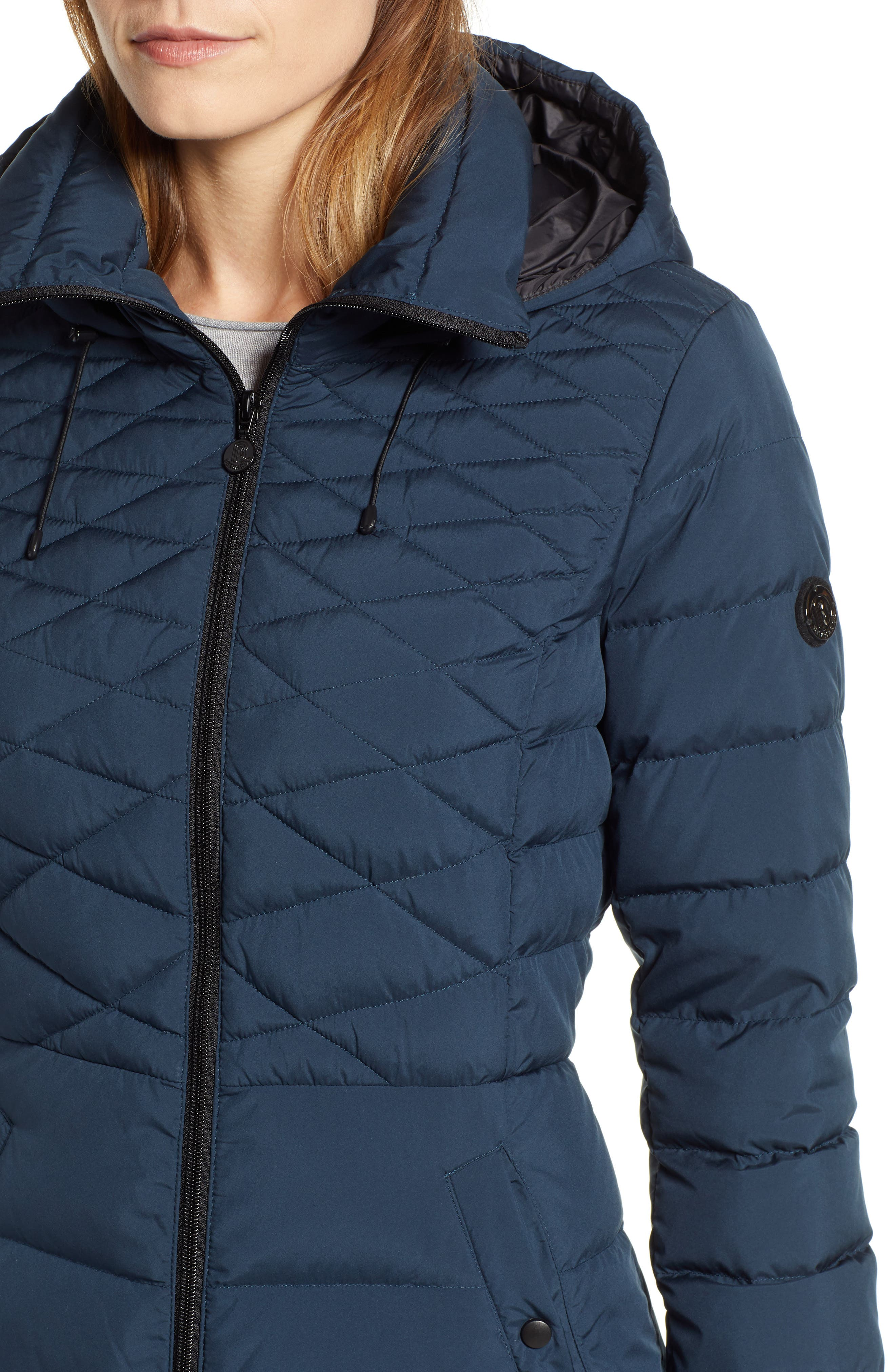 Quilted Long Coat with Down & PrimaLoft<sup>®</sup> Fill,                             Alternate thumbnail 4, color,                             DEEP WATER