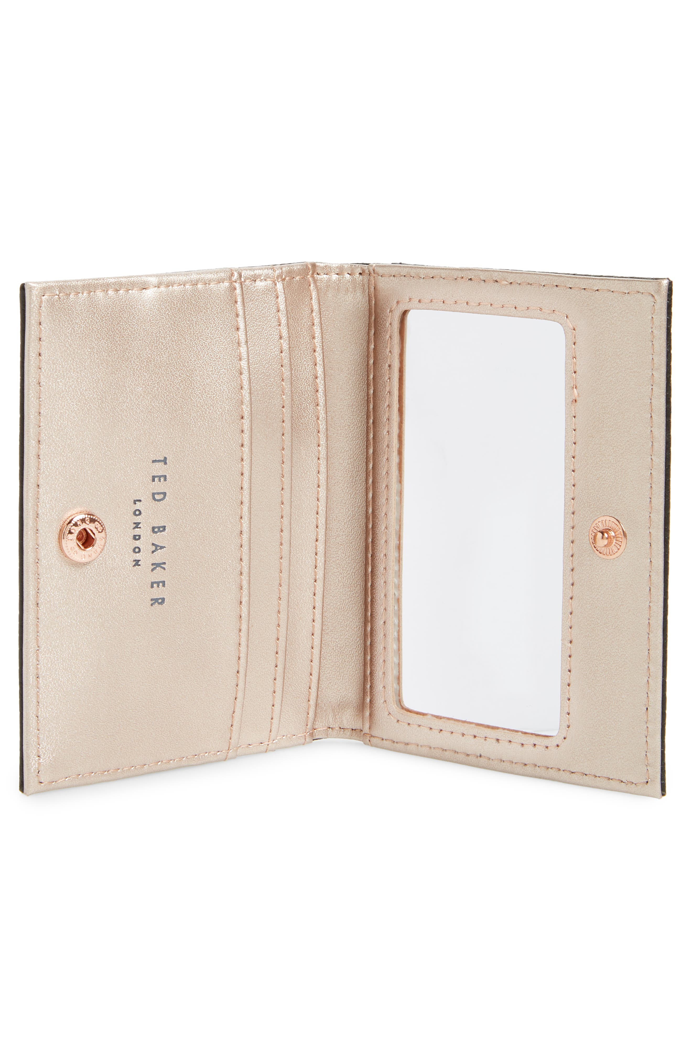 TED BAKER LONDON,                             Edyth Leather Cardholder with Mirror,                             Alternate thumbnail 2, color,                             001