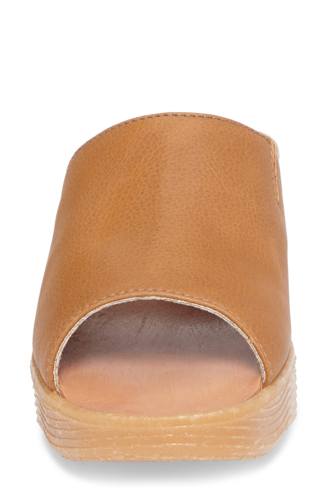 Slide N Sleek Wedge Slide Sandal,                             Alternate thumbnail 4, color,                             COGNAC LEATHER